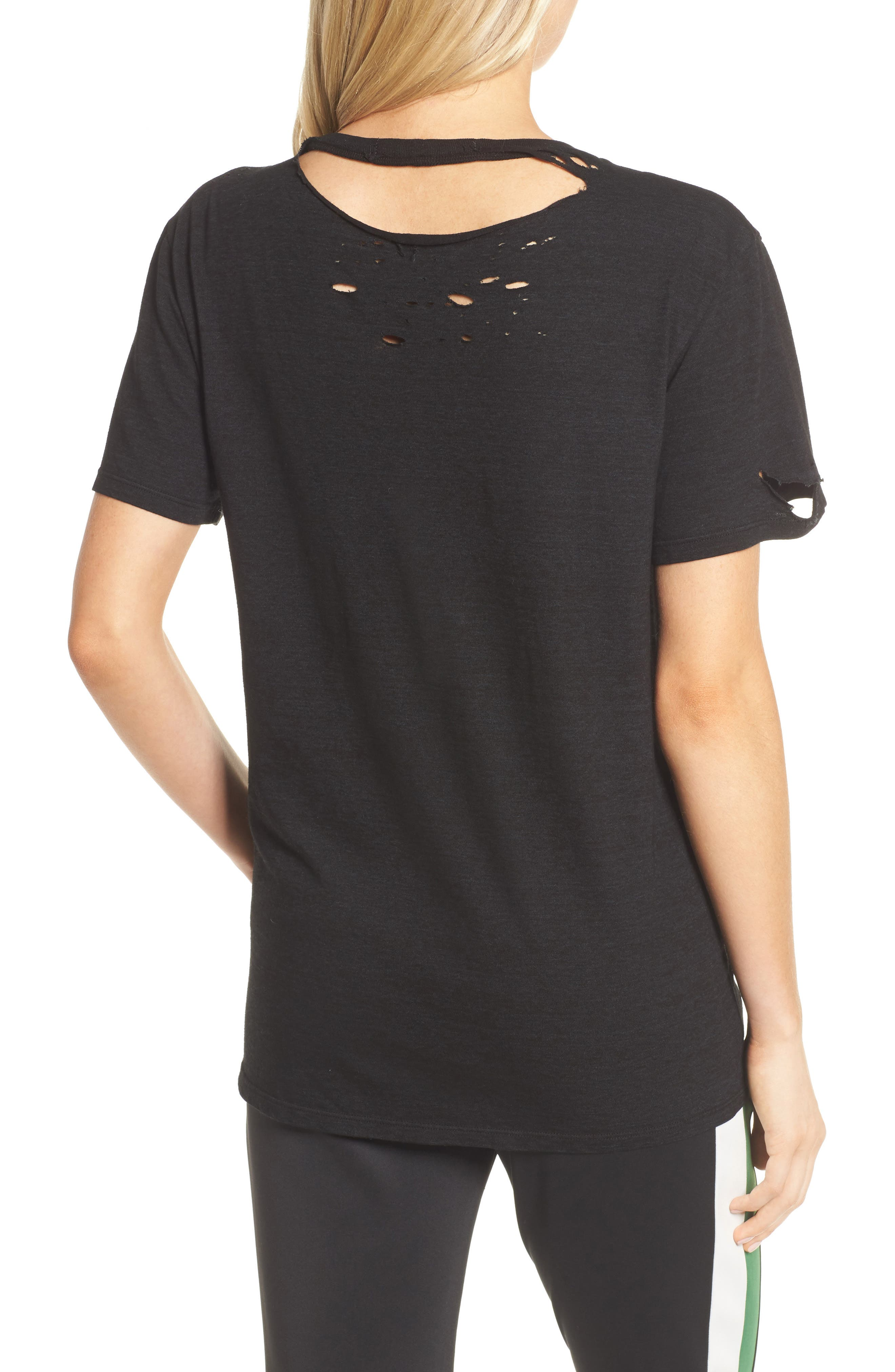 Destroyed Star Embroidered Tee,                             Alternate thumbnail 2, color,                             Black