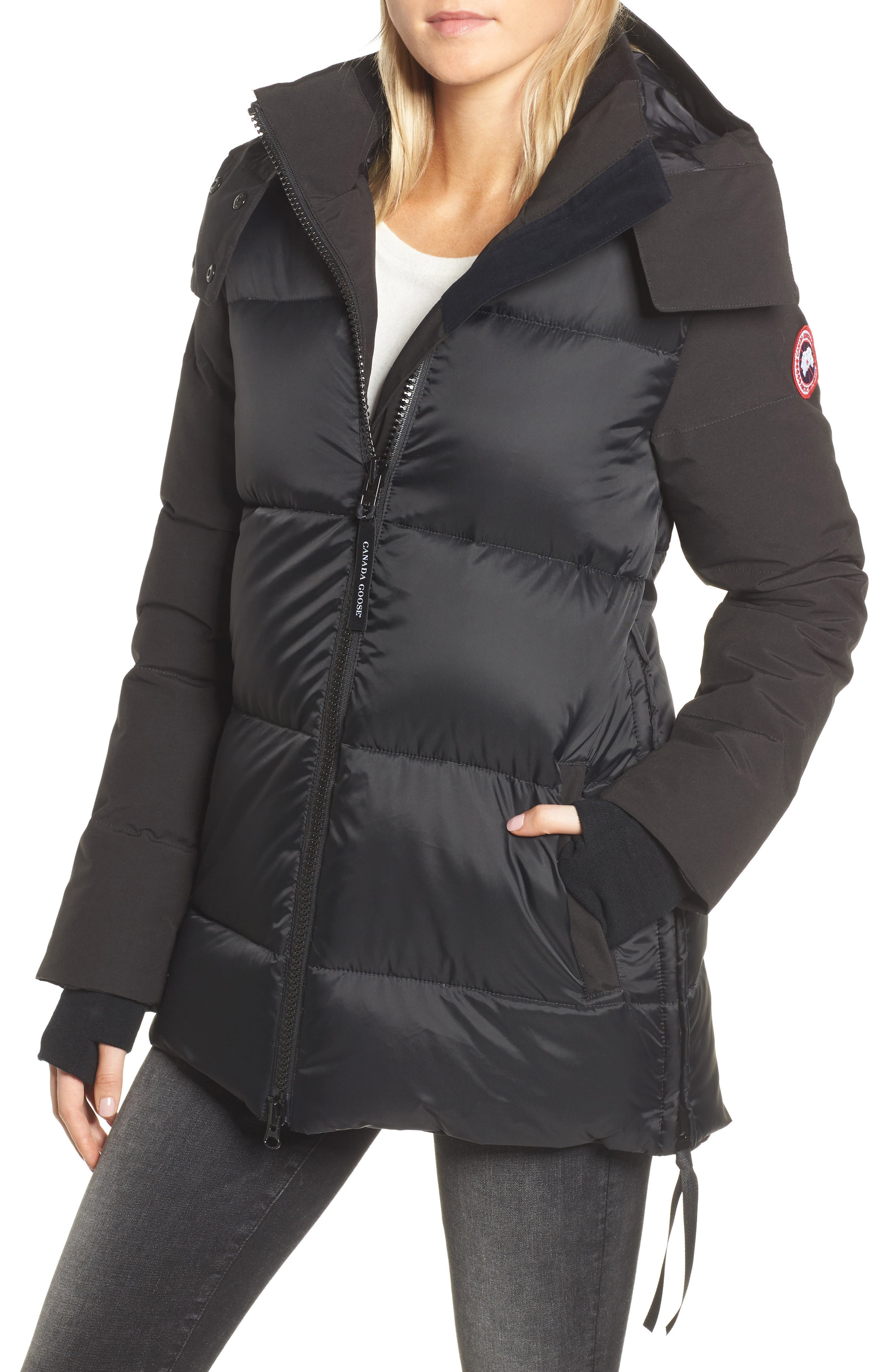 Whitehorse Hooded Water Resistant 675-Fill-Power Down Parka,                         Main,                         color, Black