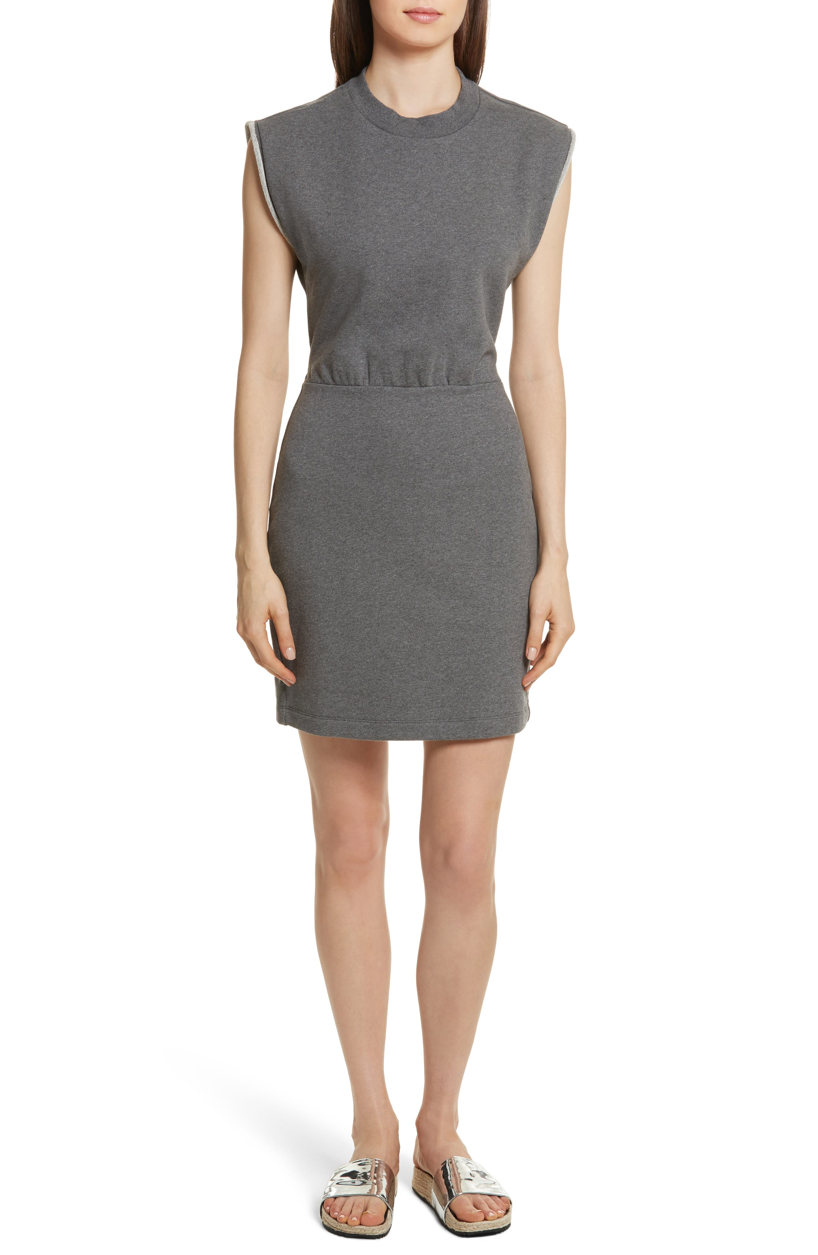 French Terry Dress,                         Main,                         color, Charcoal