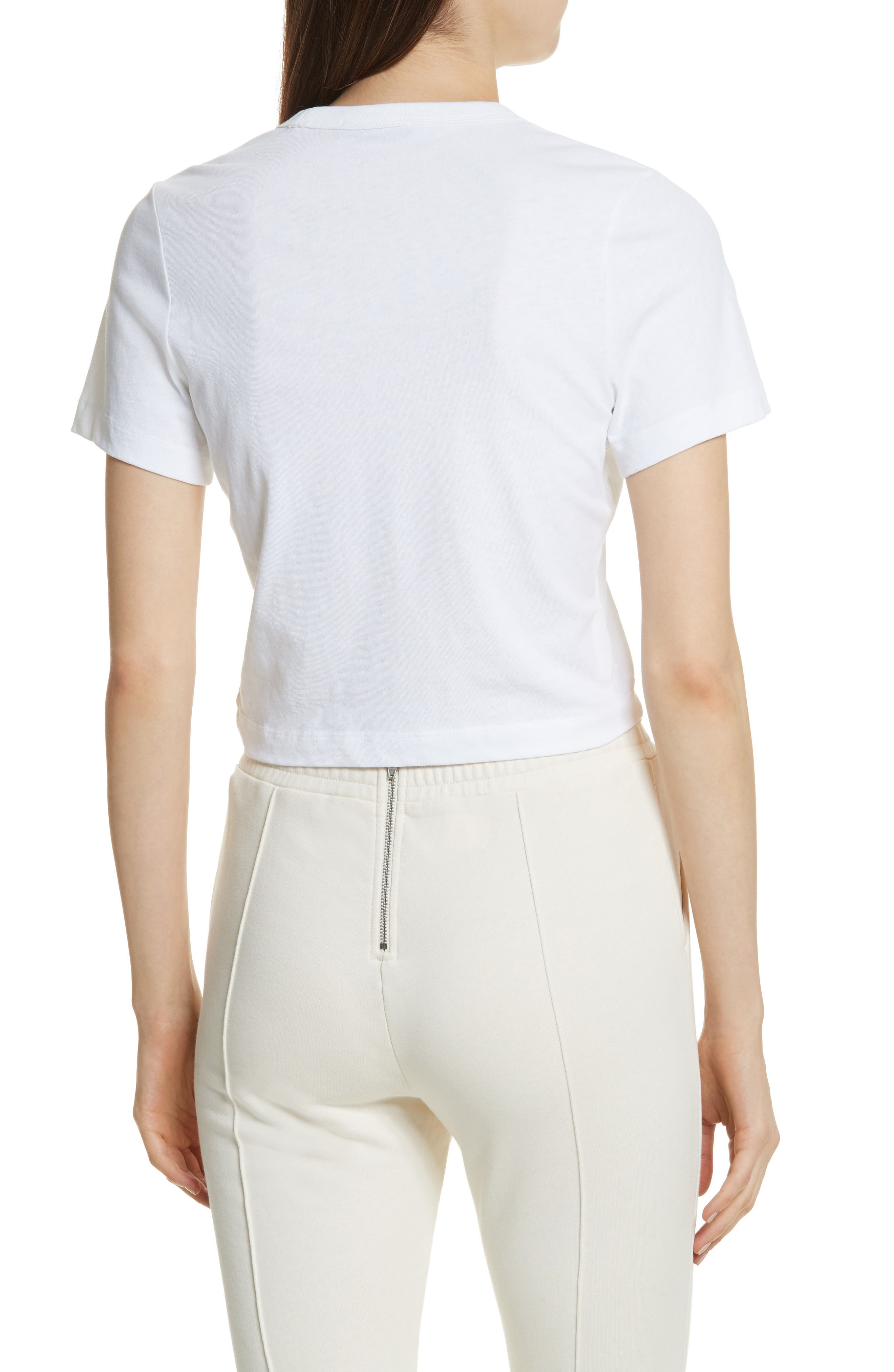 Ruched Cotton Tee,                             Alternate thumbnail 3, color,                             White