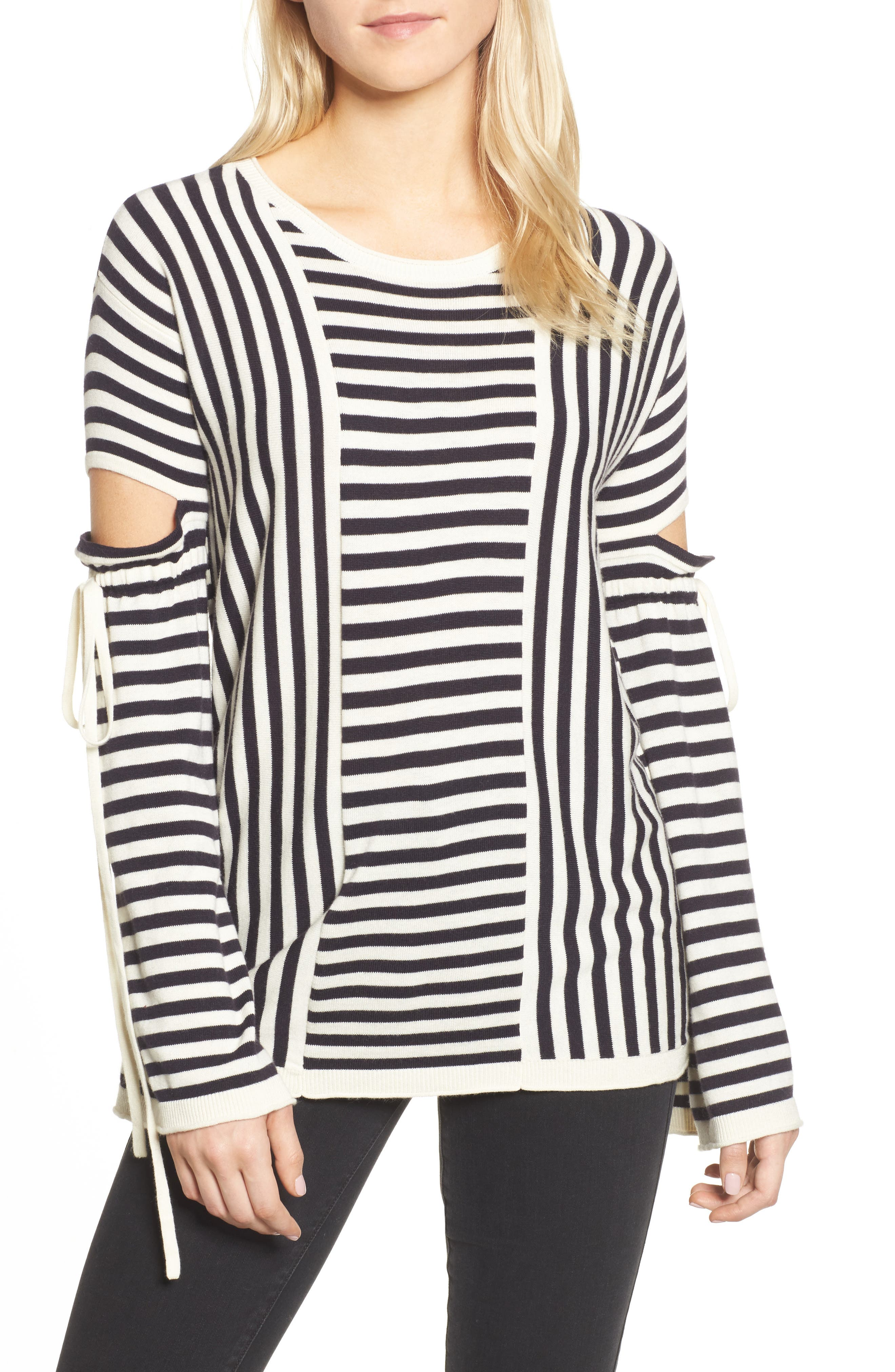 Stripe Cutout Sleeve Sweater,                             Main thumbnail 1, color,                             Navy Well- Ivory Stripe