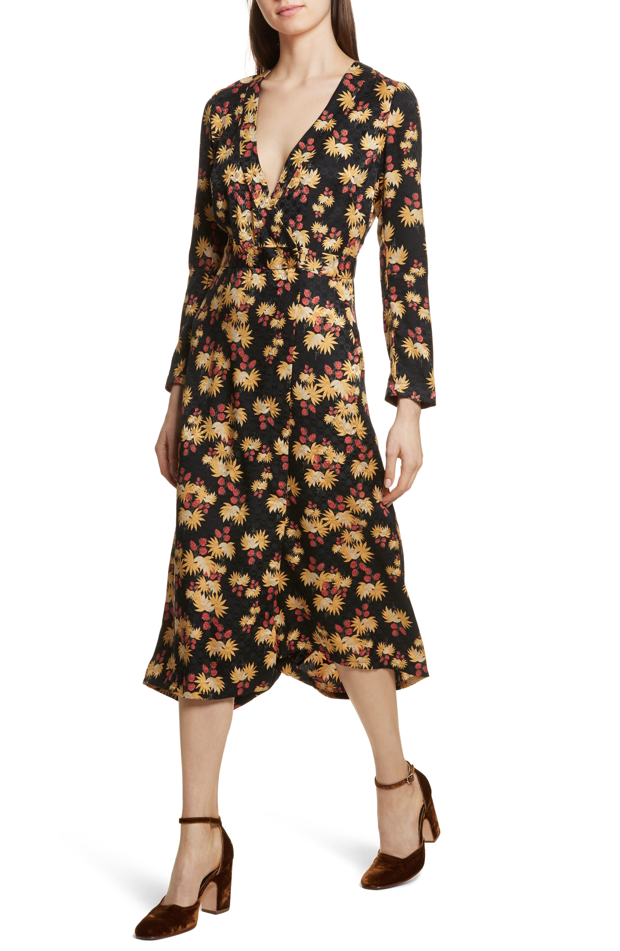 Uvalde Print Silk Jumpsuit,                             Alternate thumbnail 4, color,                             Black Multi