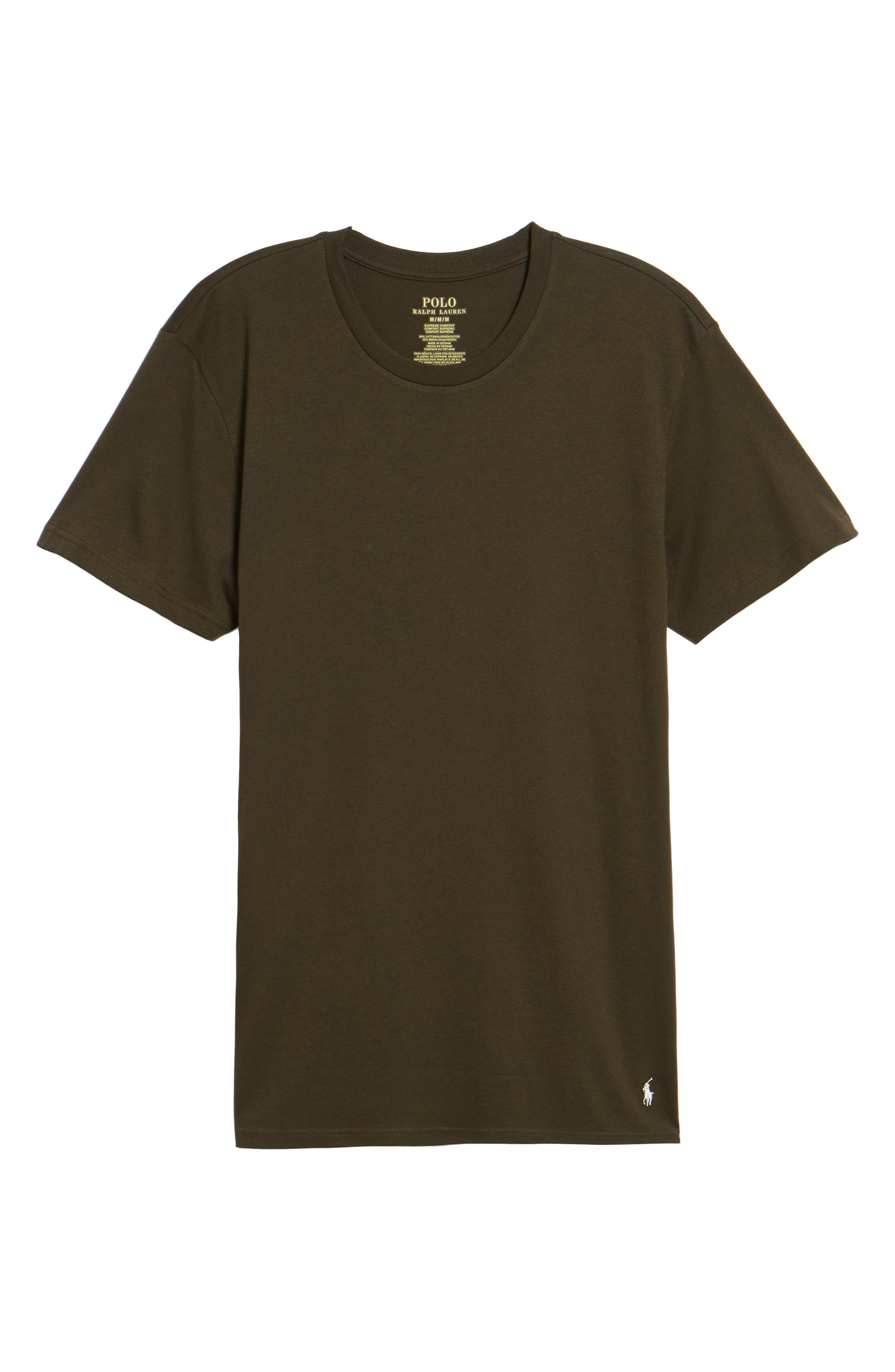 Supreme Comfort Short Sleeve Pajama Top,                             Alternate thumbnail 5, color,                             Rich Olive/ Chic Cream