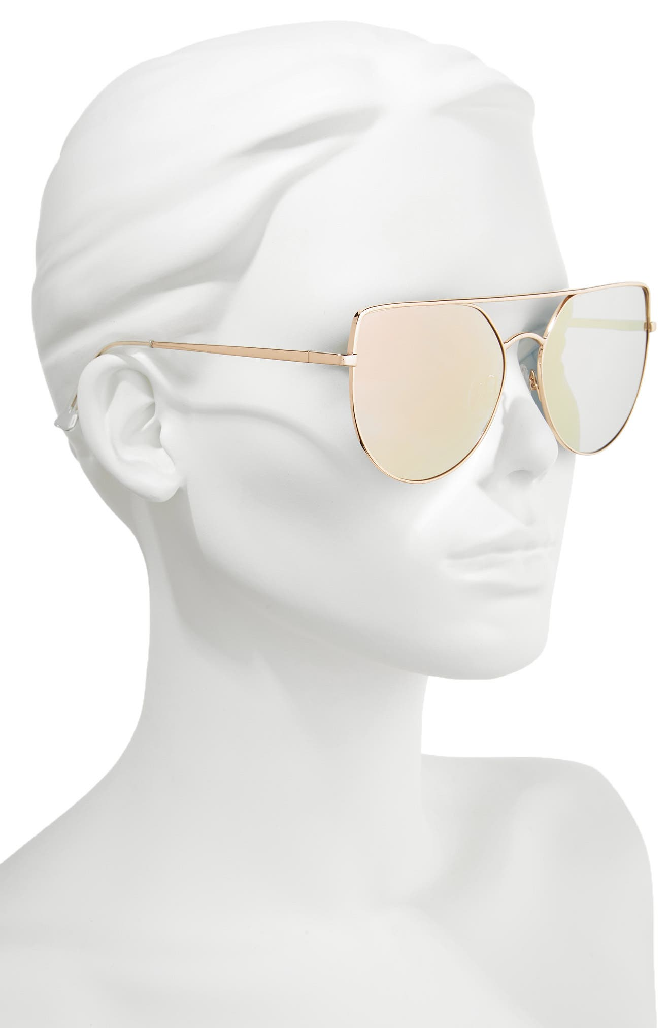60mm Aviator Sunglasses,                             Alternate thumbnail 2, color,                             Gold/ Light Pink