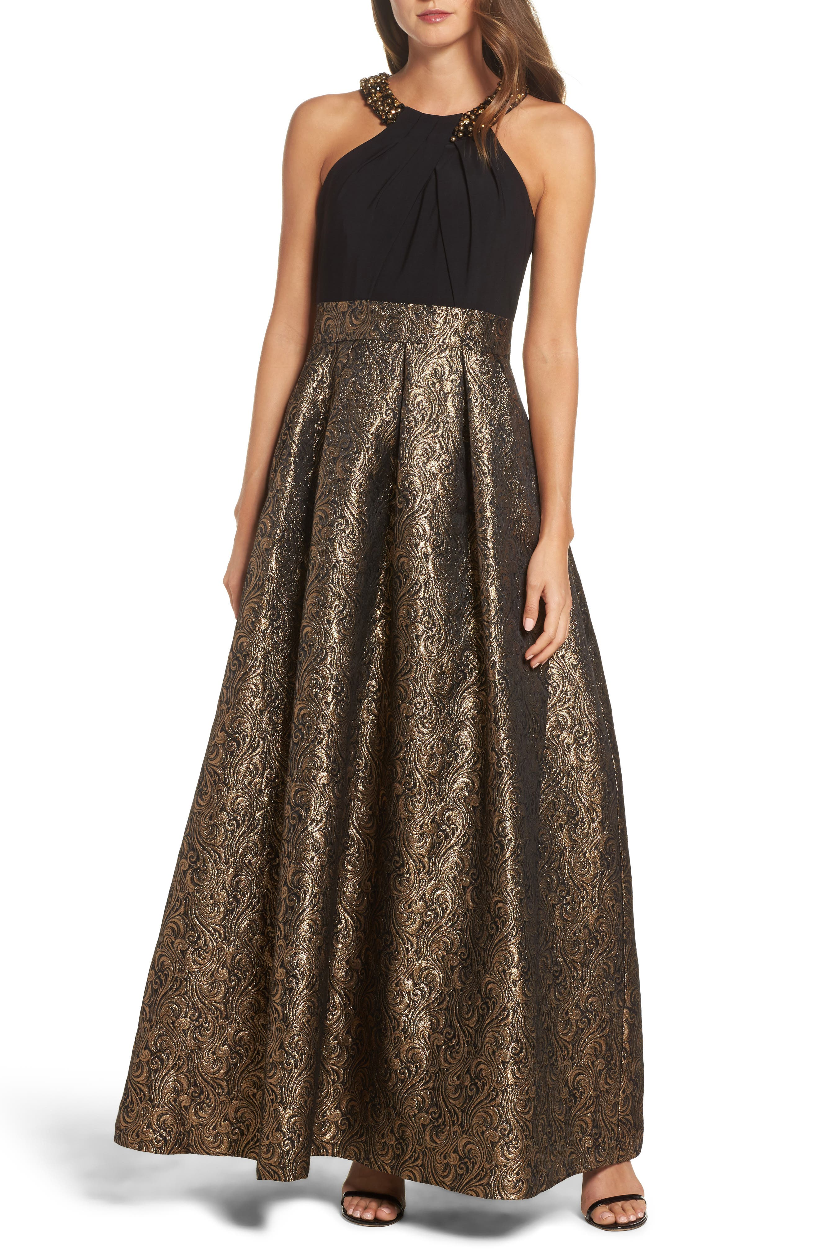 Embellished Mixed Media Ballgown,                         Main,                         color, Bronze Blaze