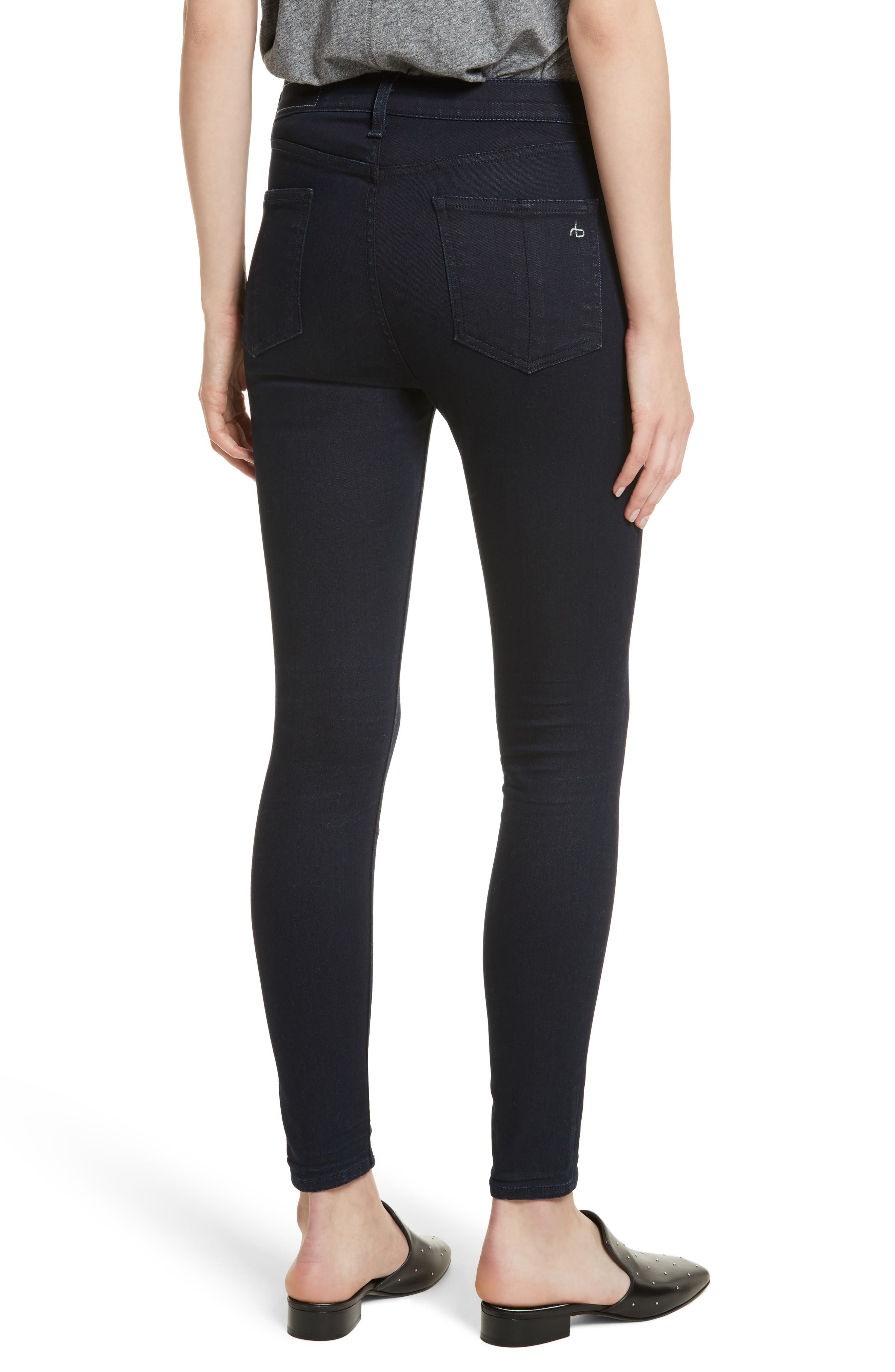 Alternate Image 2  - rag & bone/JEAN High Waist Ankle Skinny Jeans (Twilight)