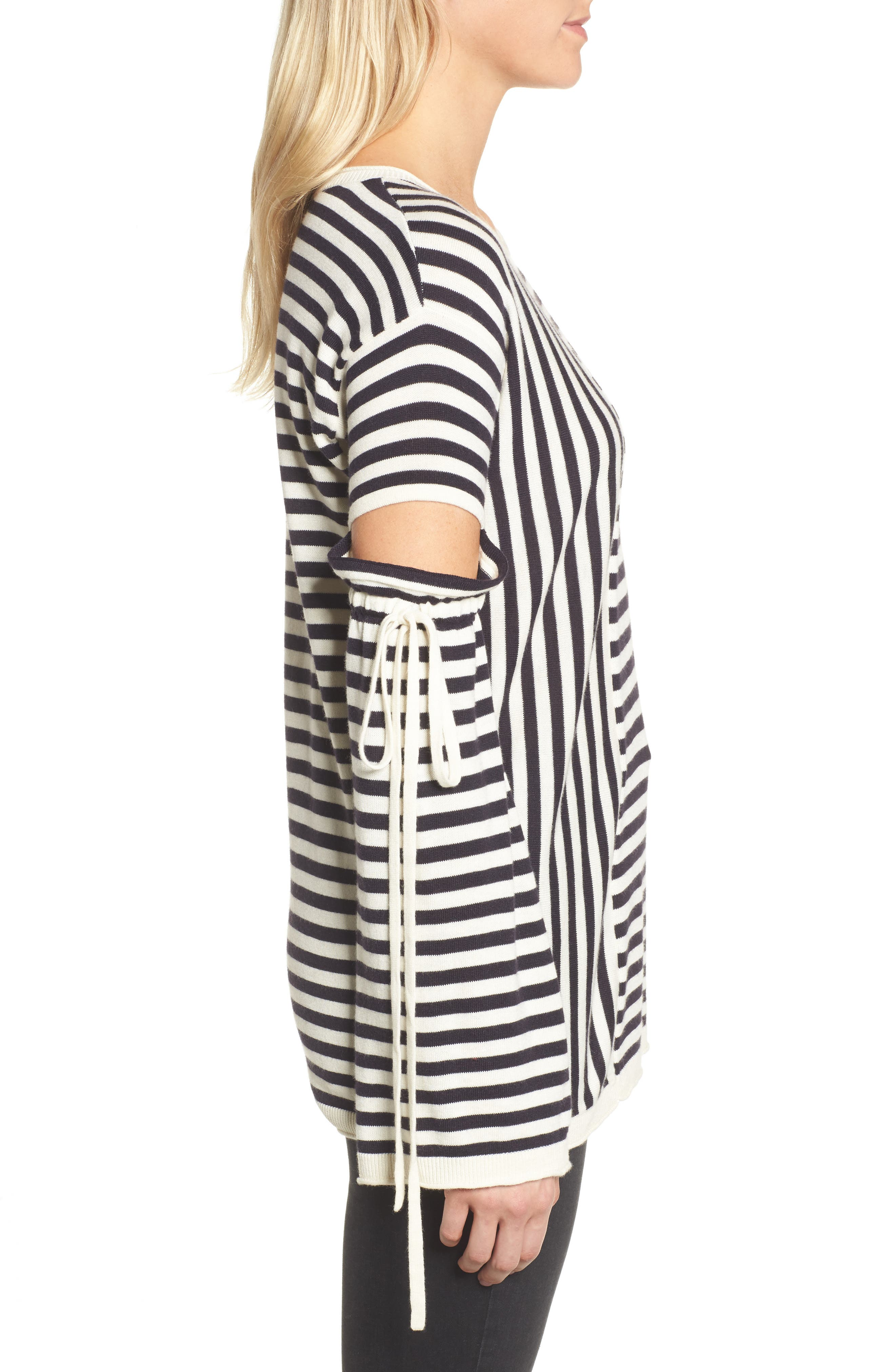 Stripe Cutout Sleeve Sweater,                             Alternate thumbnail 3, color,                             Navy Well- Ivory Stripe