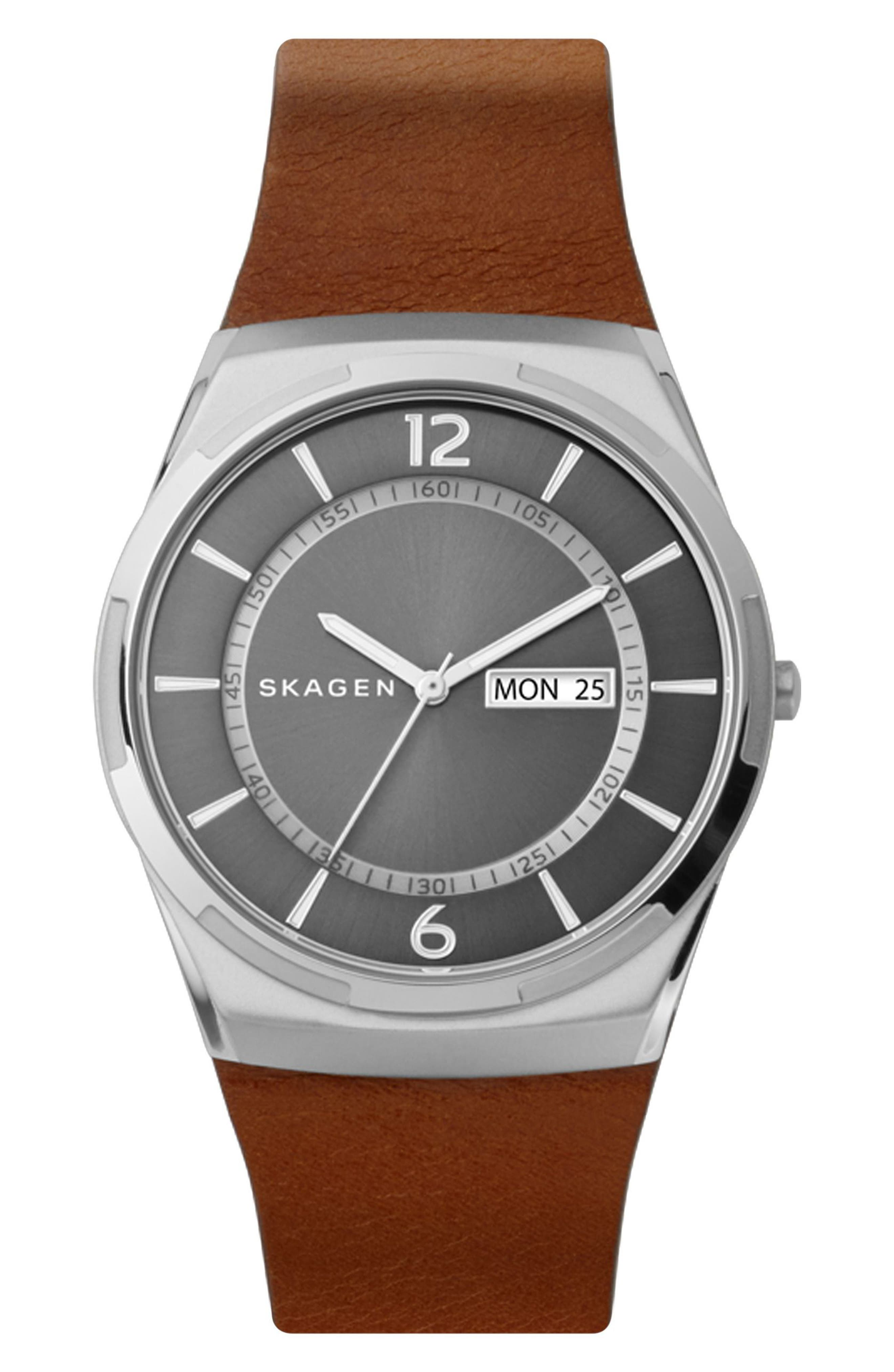 Skagen Melbye Leather Strap Watch, 40mm
