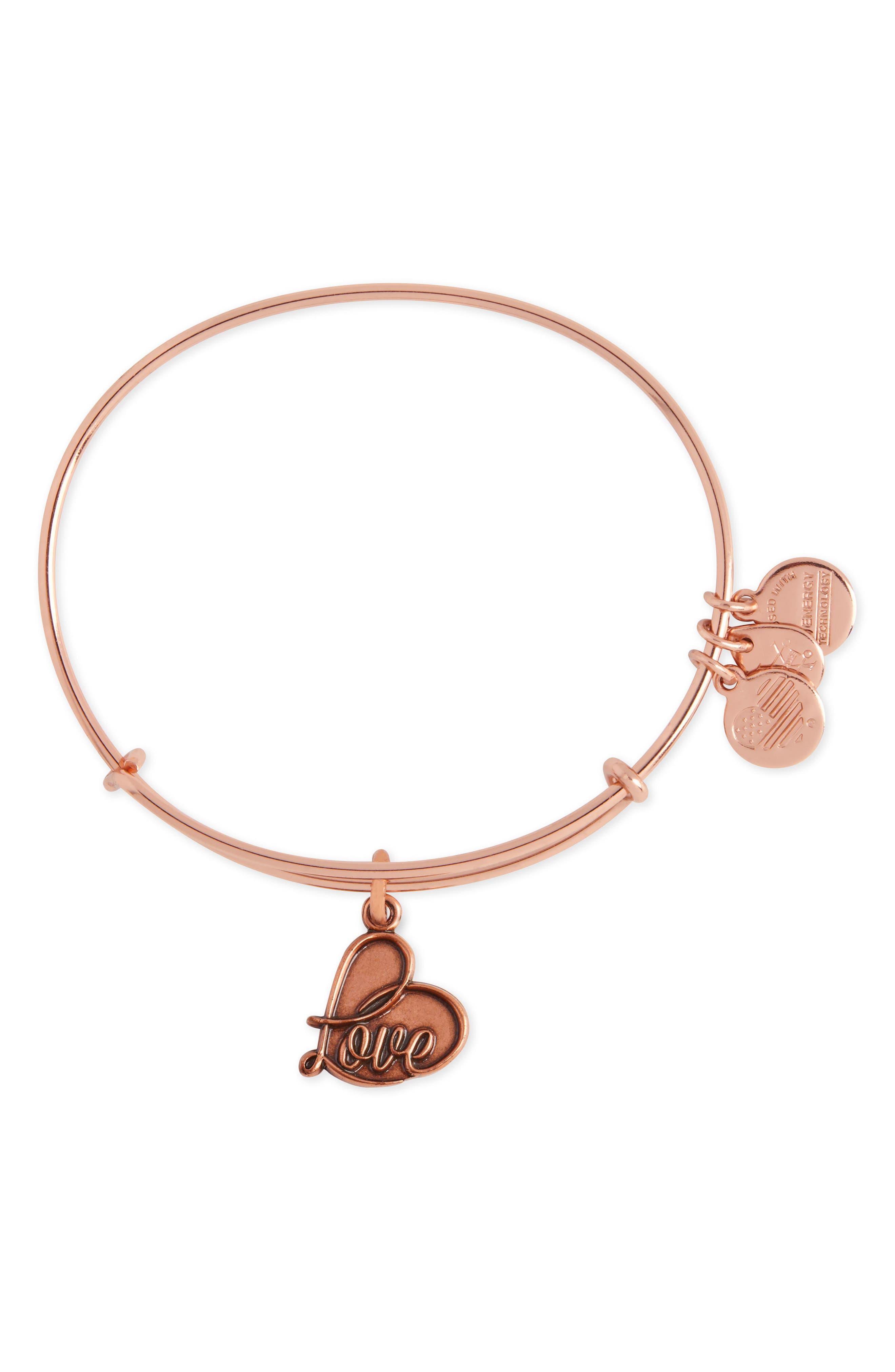 Love IV Adjustable Wire Bangle,                         Main,                         color, Rose Gold