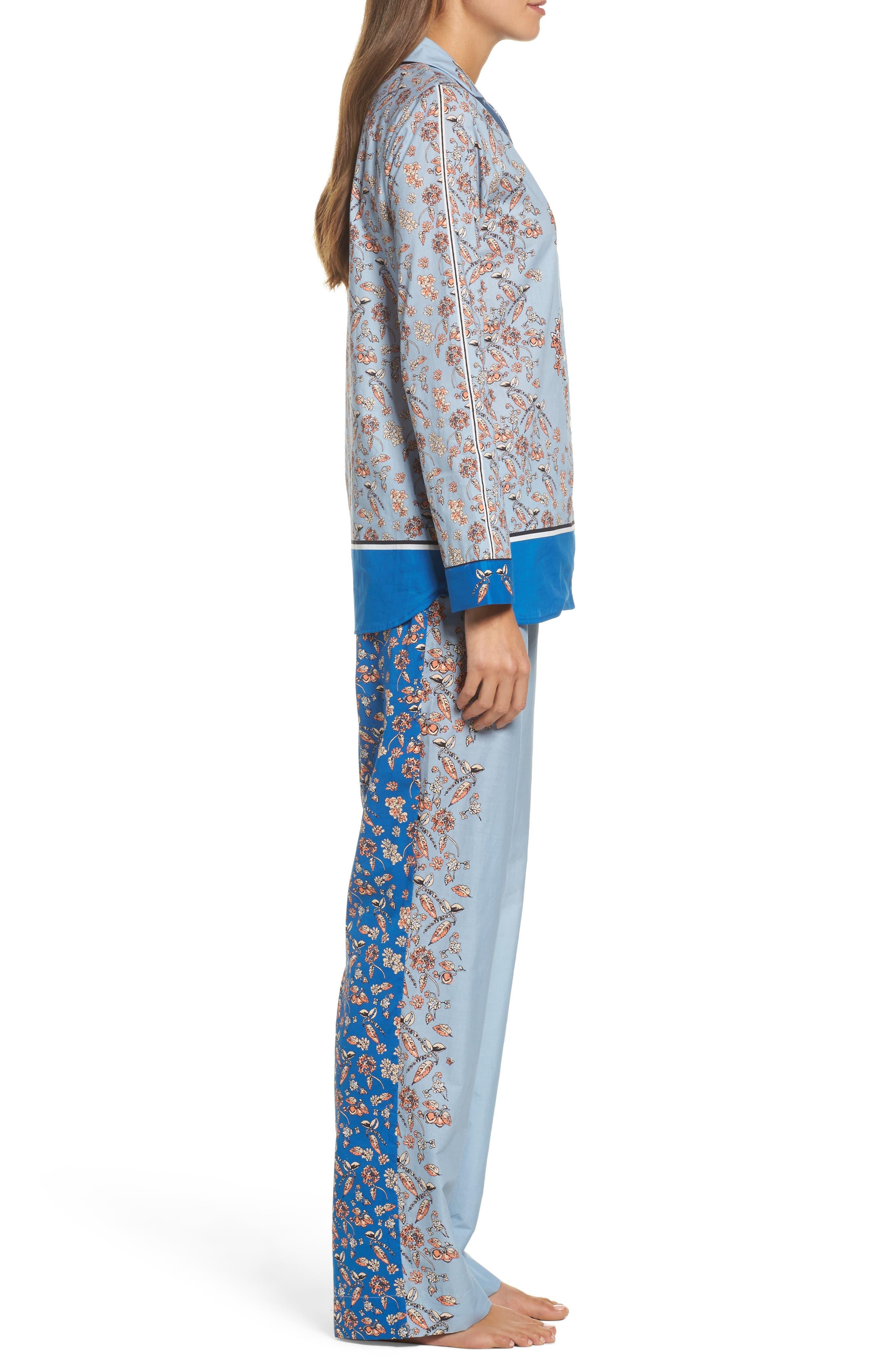 Alternate Image 3  - Yolke Classic Print Cotton Poplin Pajamas