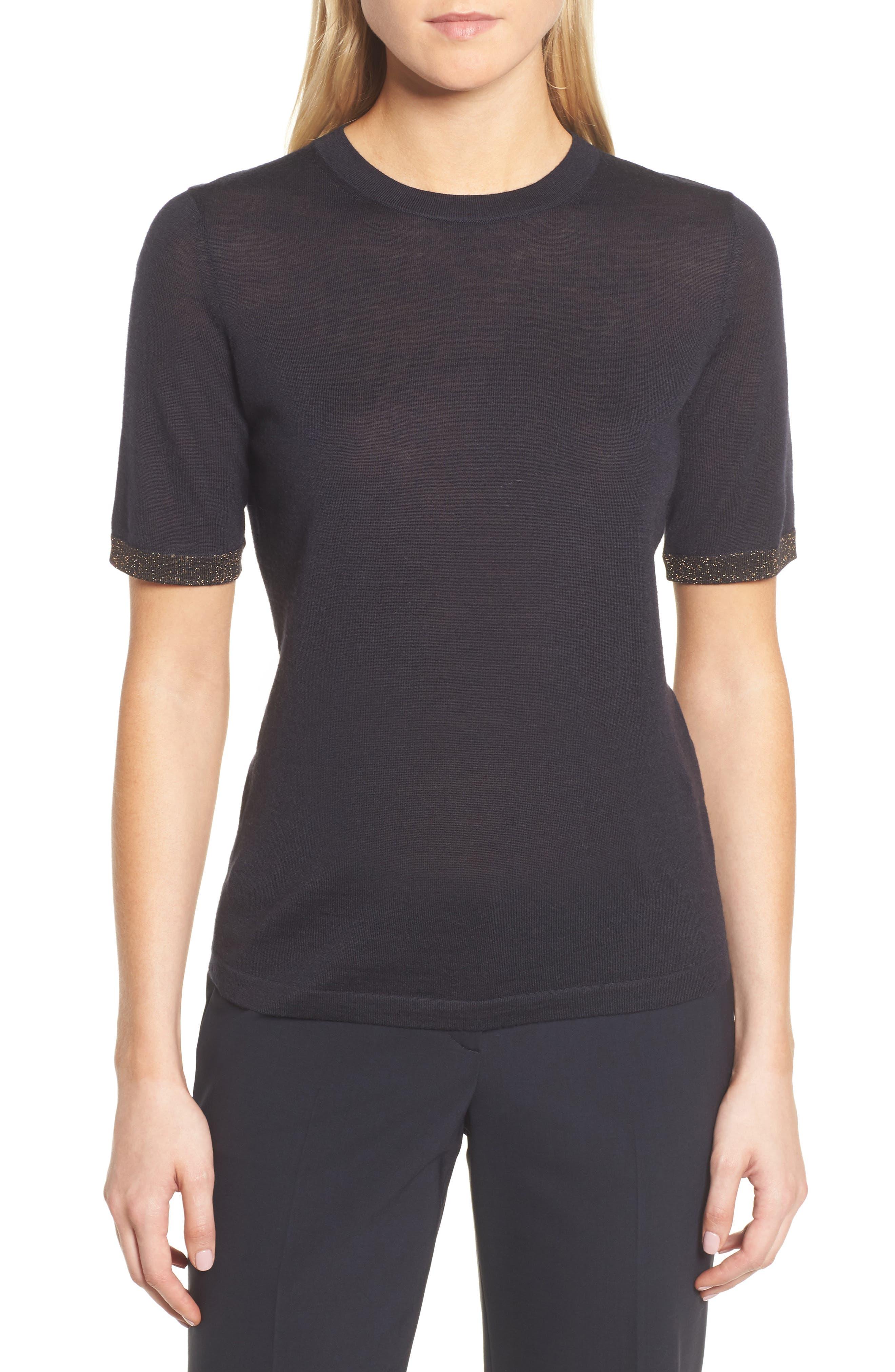 Main Image - BOSS Fifet Sparkle Trim Sweater