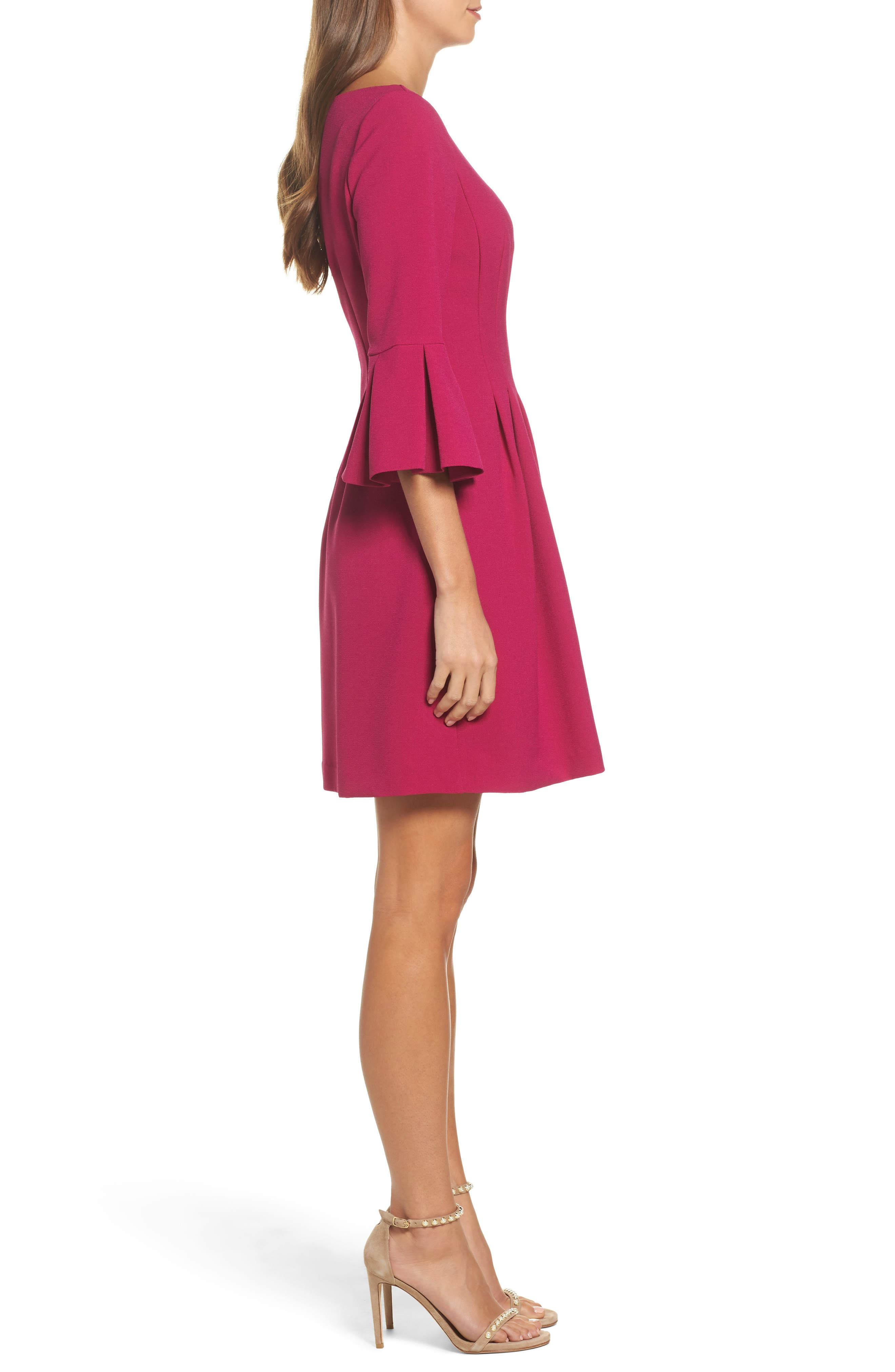 Bell Sleeve Fit & Flare Dress,                             Alternate thumbnail 3, color,                             Magenta