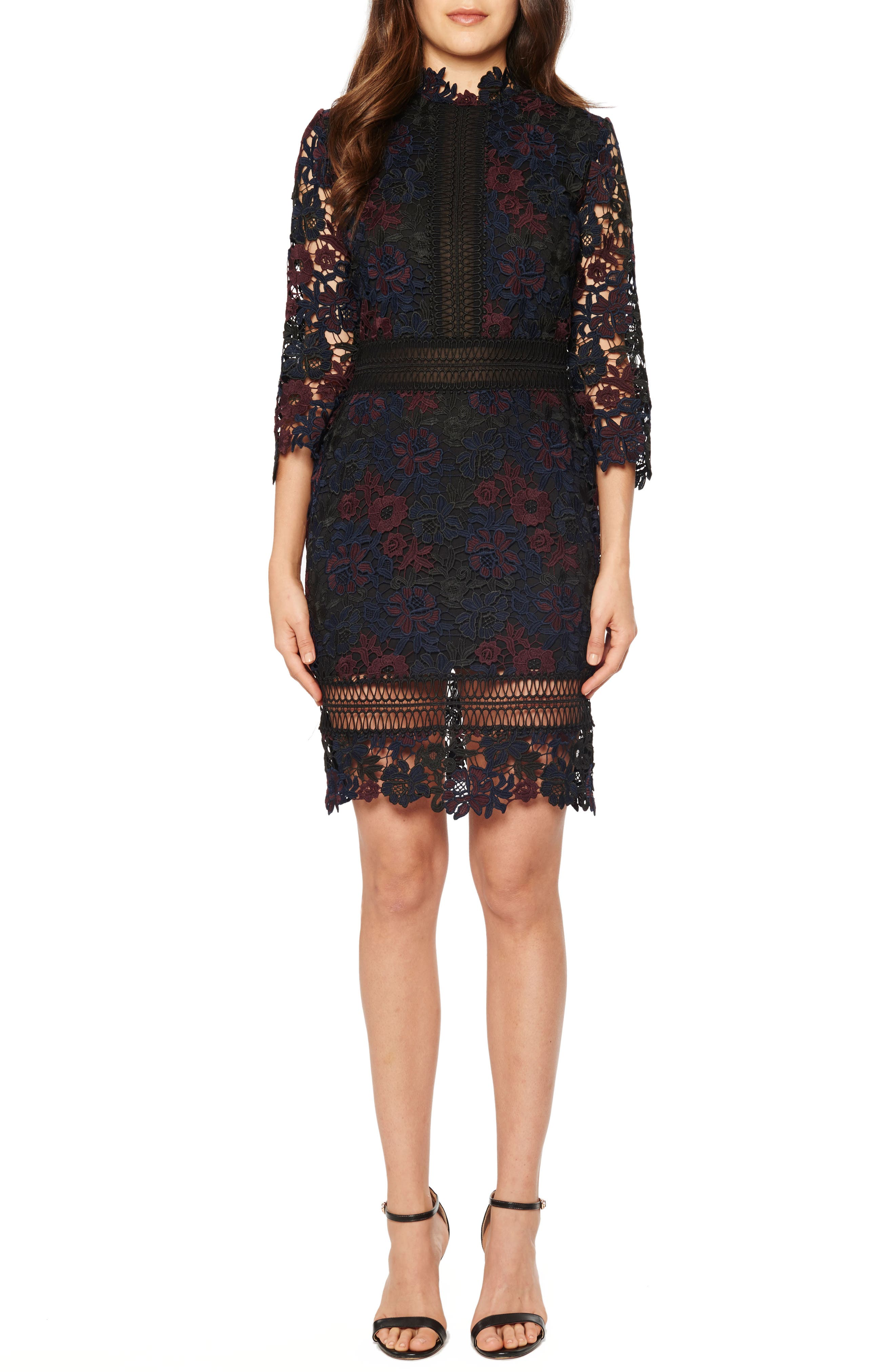 Mock Neck Lace Dress,                         Main,                         color, Midnight