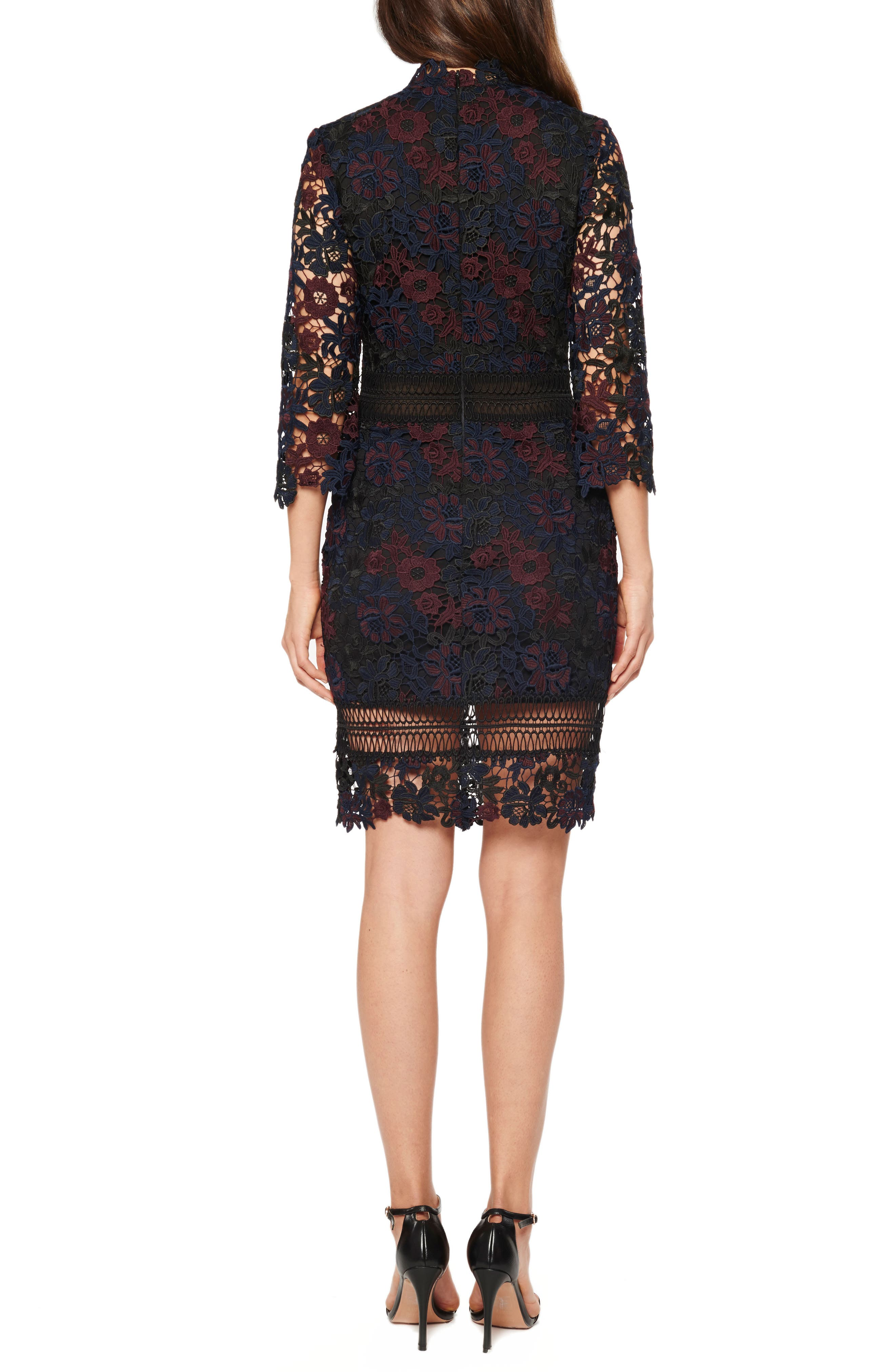 Mock Neck Lace Dress,                             Alternate thumbnail 2, color,                             Midnight