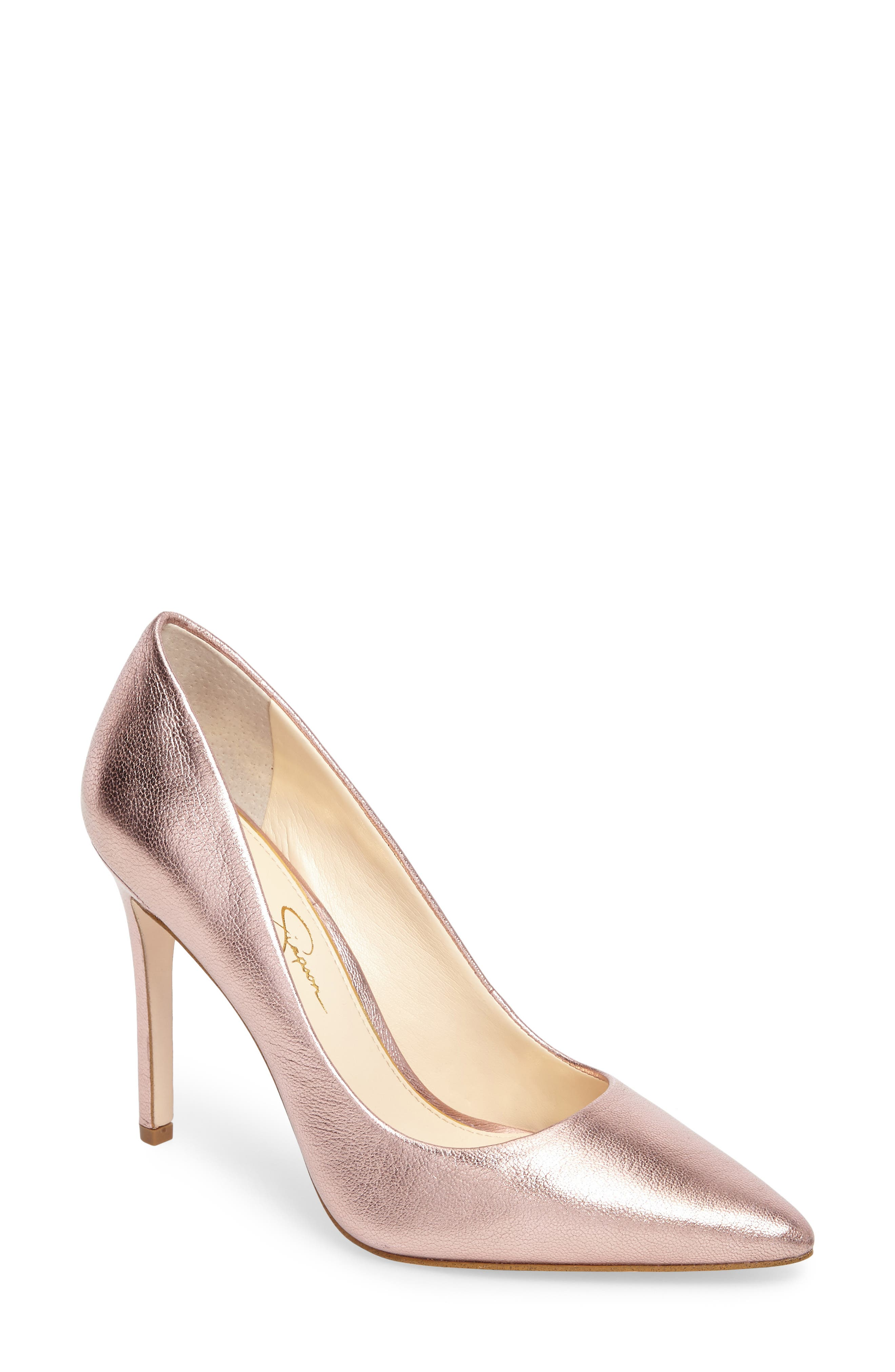 Praylee Pointy Toe Pump,                             Main thumbnail 1, color,                             Dolly Pink Leather