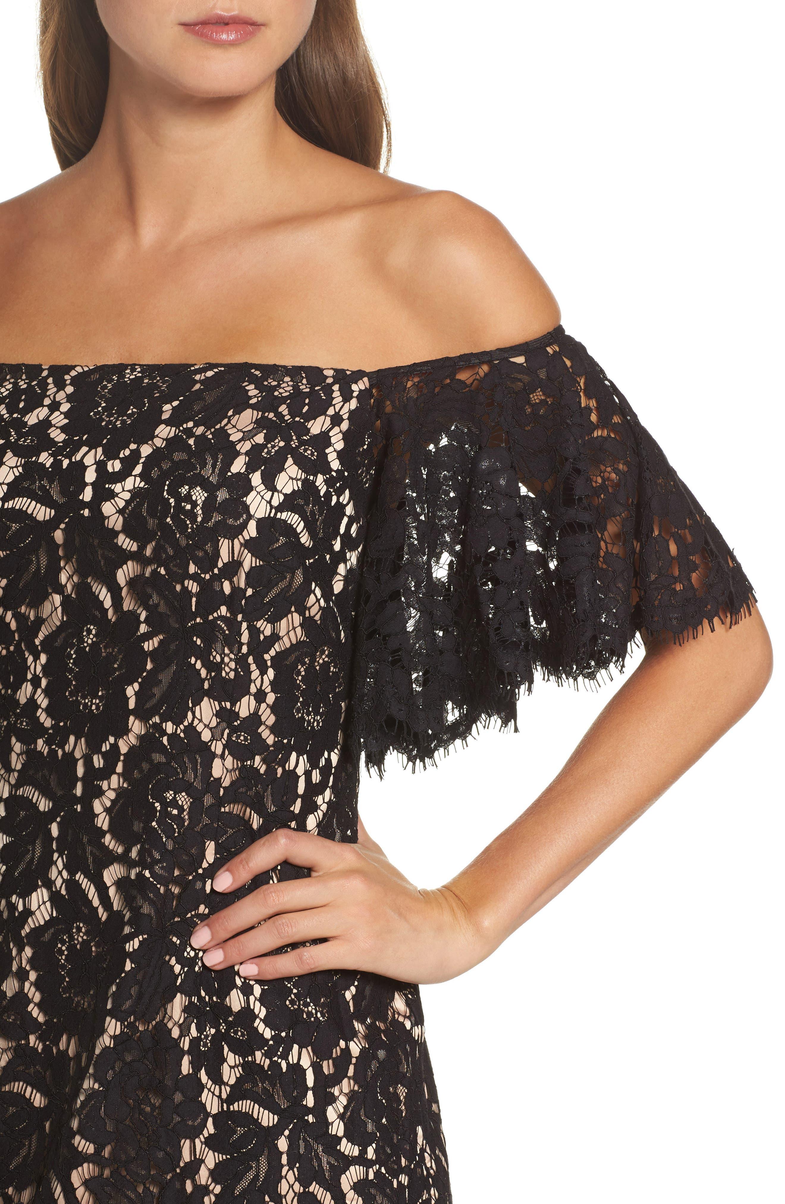 Off the Shoulder Lace Dress,                             Alternate thumbnail 4, color,                             Black/ Nude Combo
