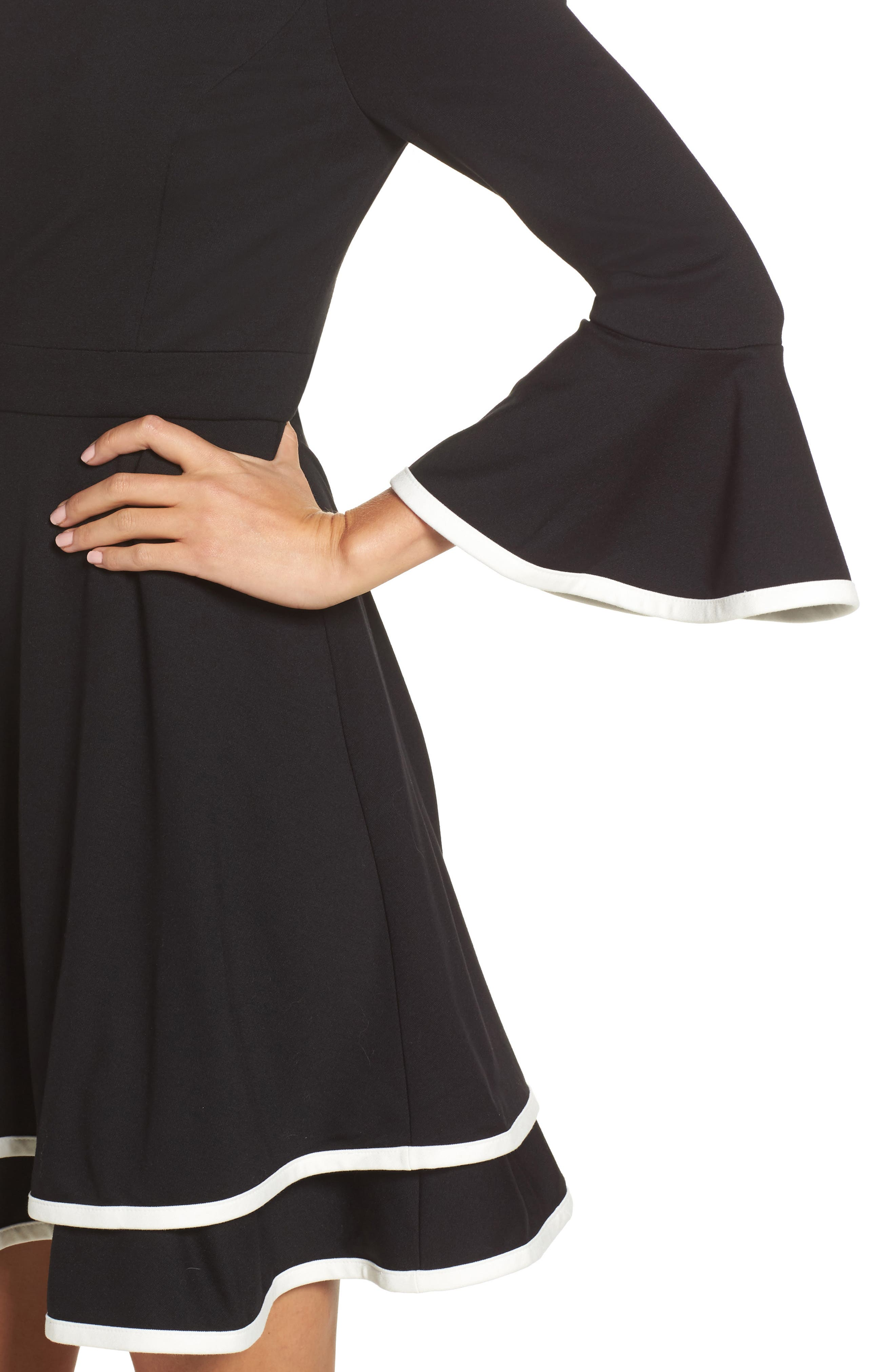 Bell Sleeve Fit & Flare Dress,                             Alternate thumbnail 4, color,                             Black/ Ivory