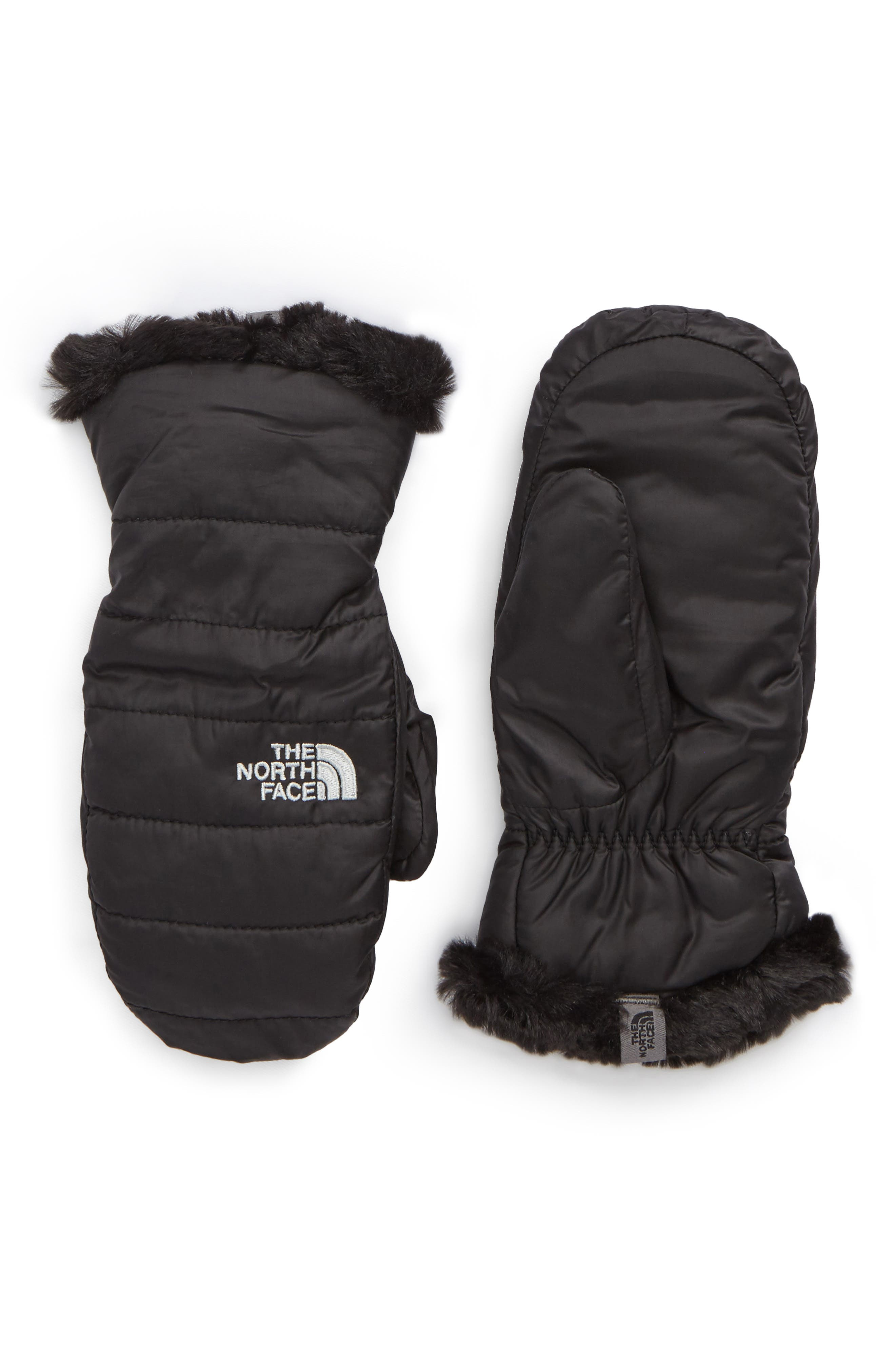 Mossbud Swirl Reversible Water Resistant Mittens,                         Main,                         color, Tnf Black