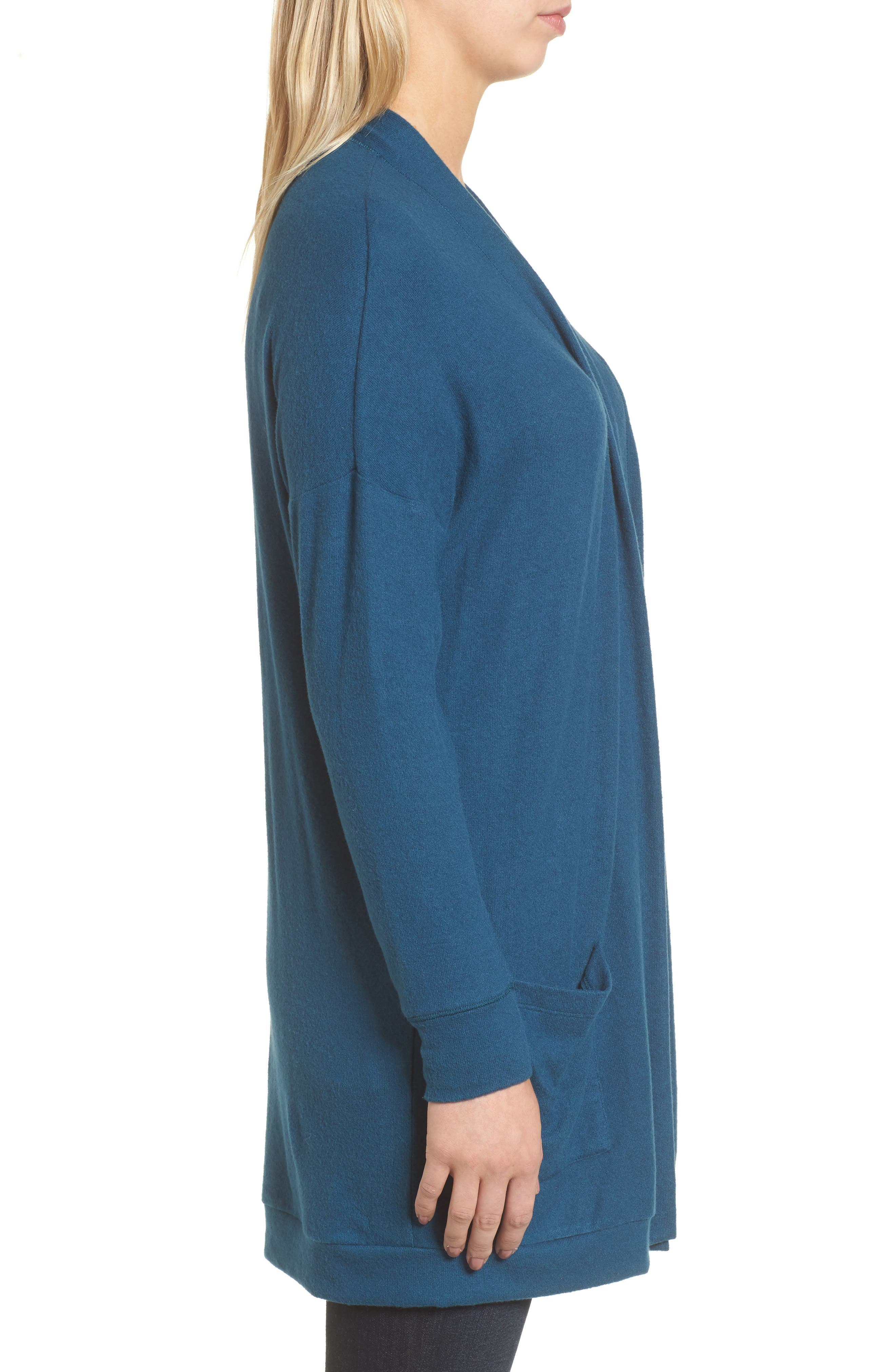 Rib Knit Cardigan,                             Alternate thumbnail 3, color,                             Blue Ceramic