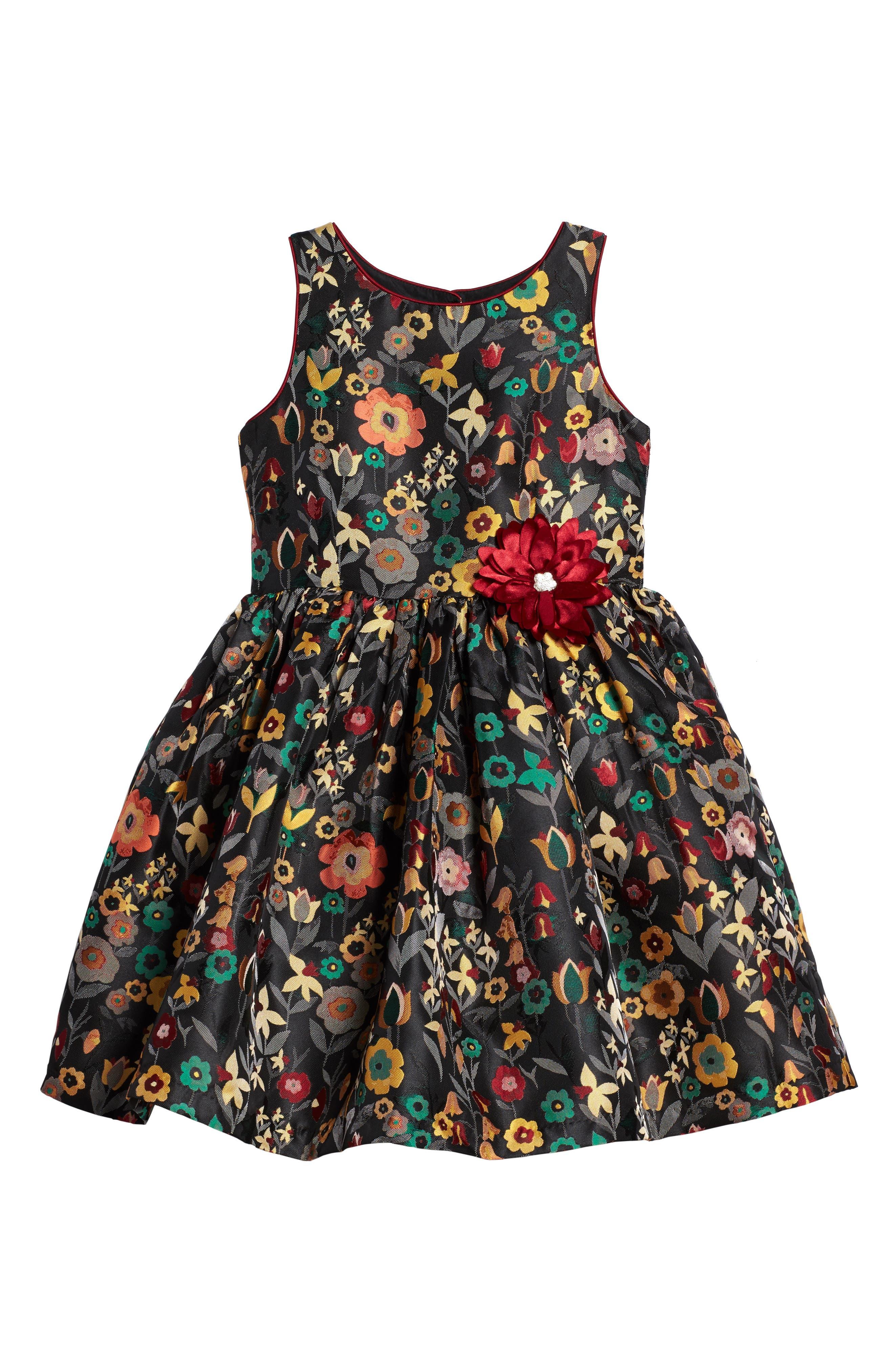 Floral Brocade Dress,                             Main thumbnail 1, color,                             Gold Floral Multi