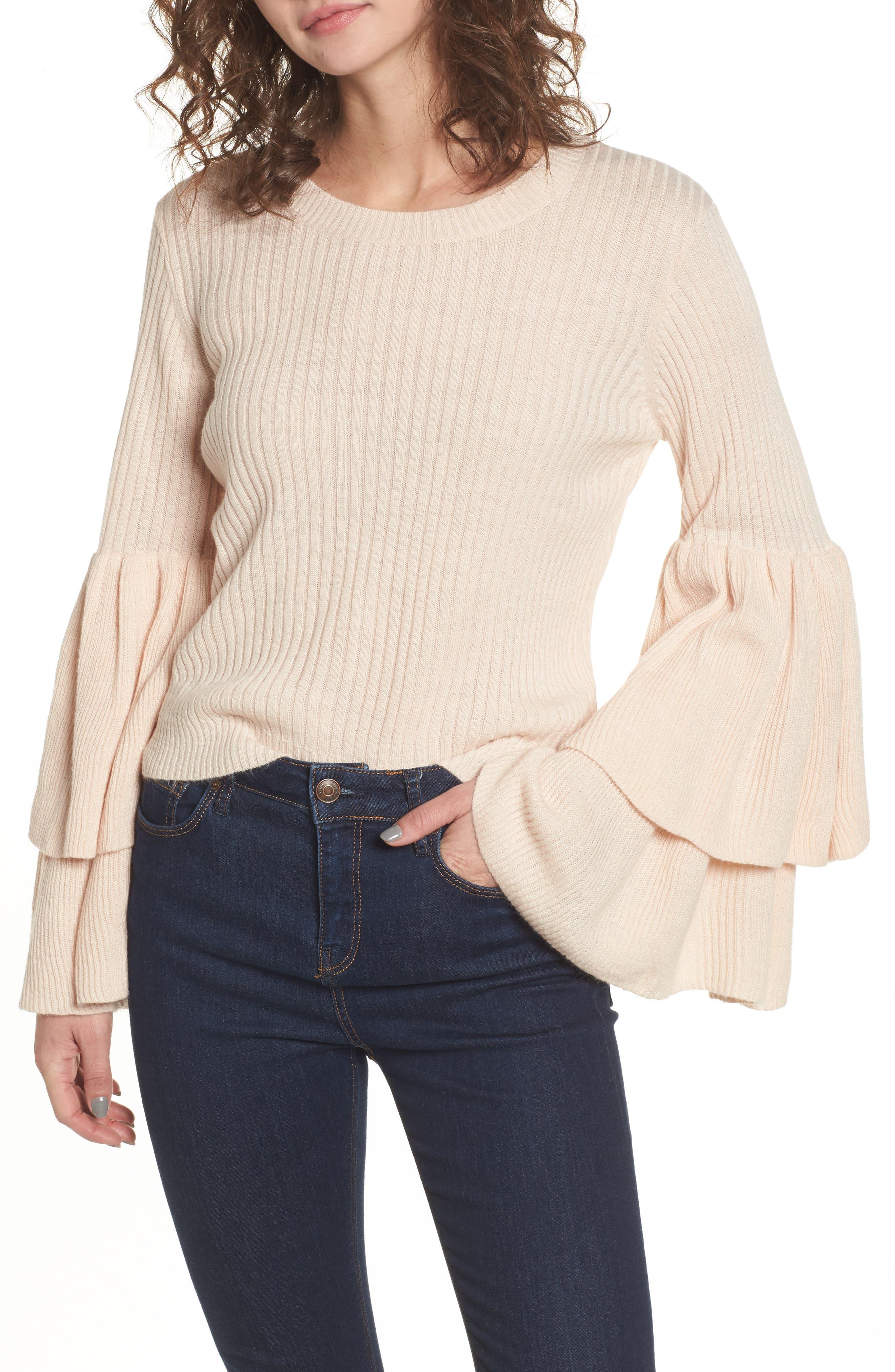 Tiara Bell Sleeve Sweater,                             Main thumbnail 1, color,                             Blush
