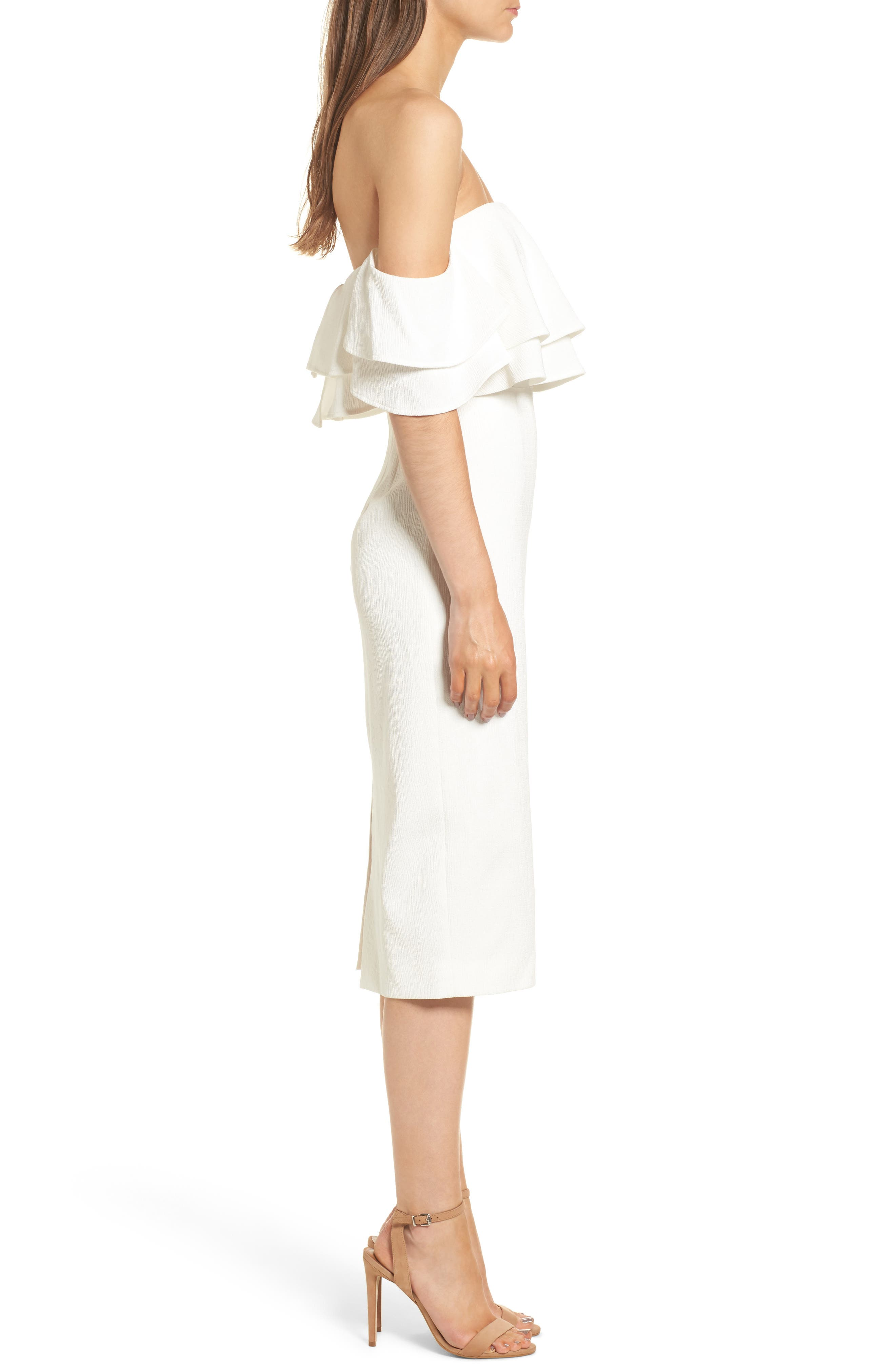 No Reason Off the Shoulder Sheath Dress,                             Alternate thumbnail 3, color,                             Ivory