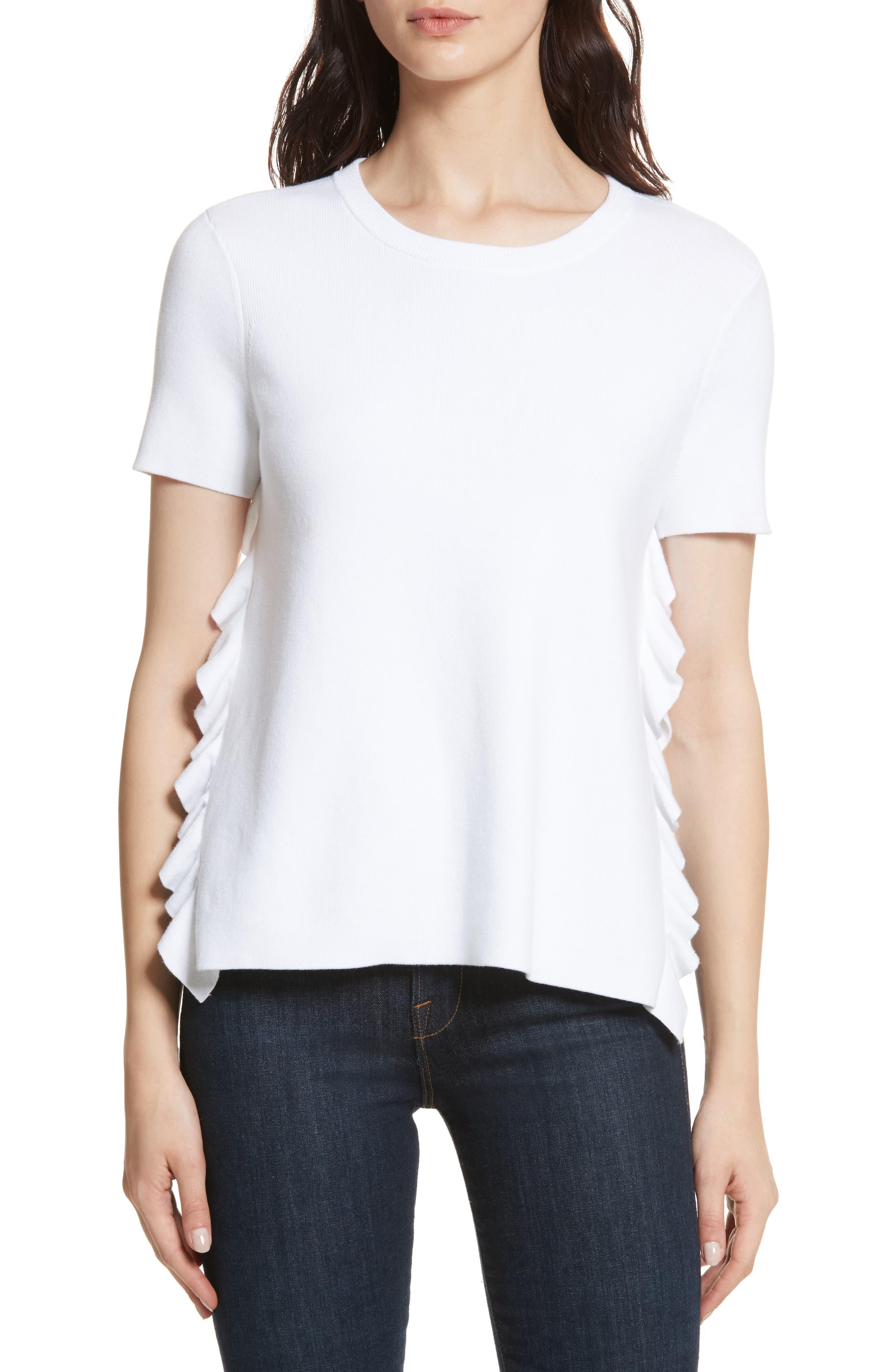 Ivan Ruffle Split Side Sweater,                             Main thumbnail 1, color,                             White