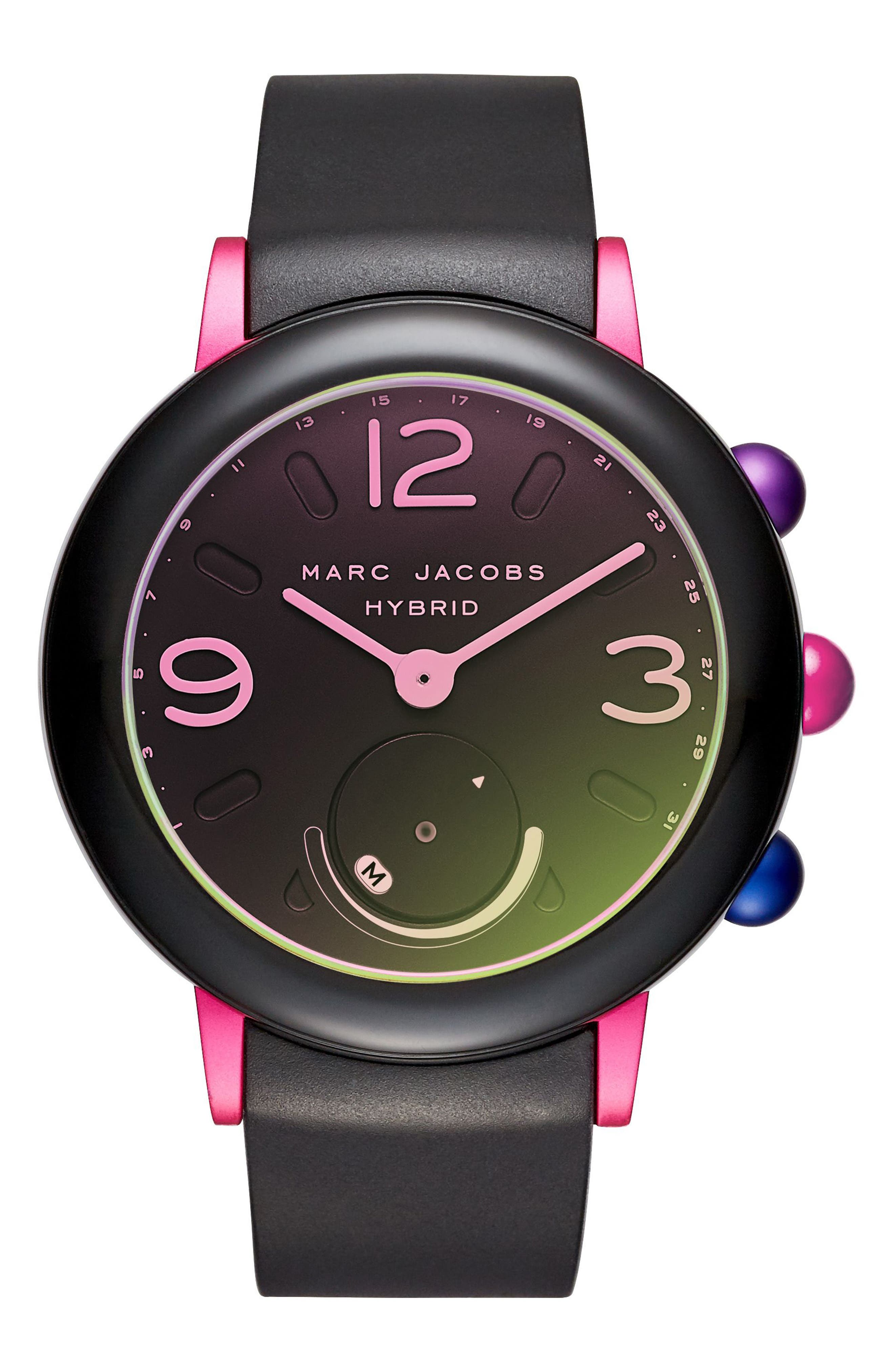 Riley Hybrid Rubber Strap Watch, 42mm,                             Main thumbnail 1, color,                             Black/ Pink