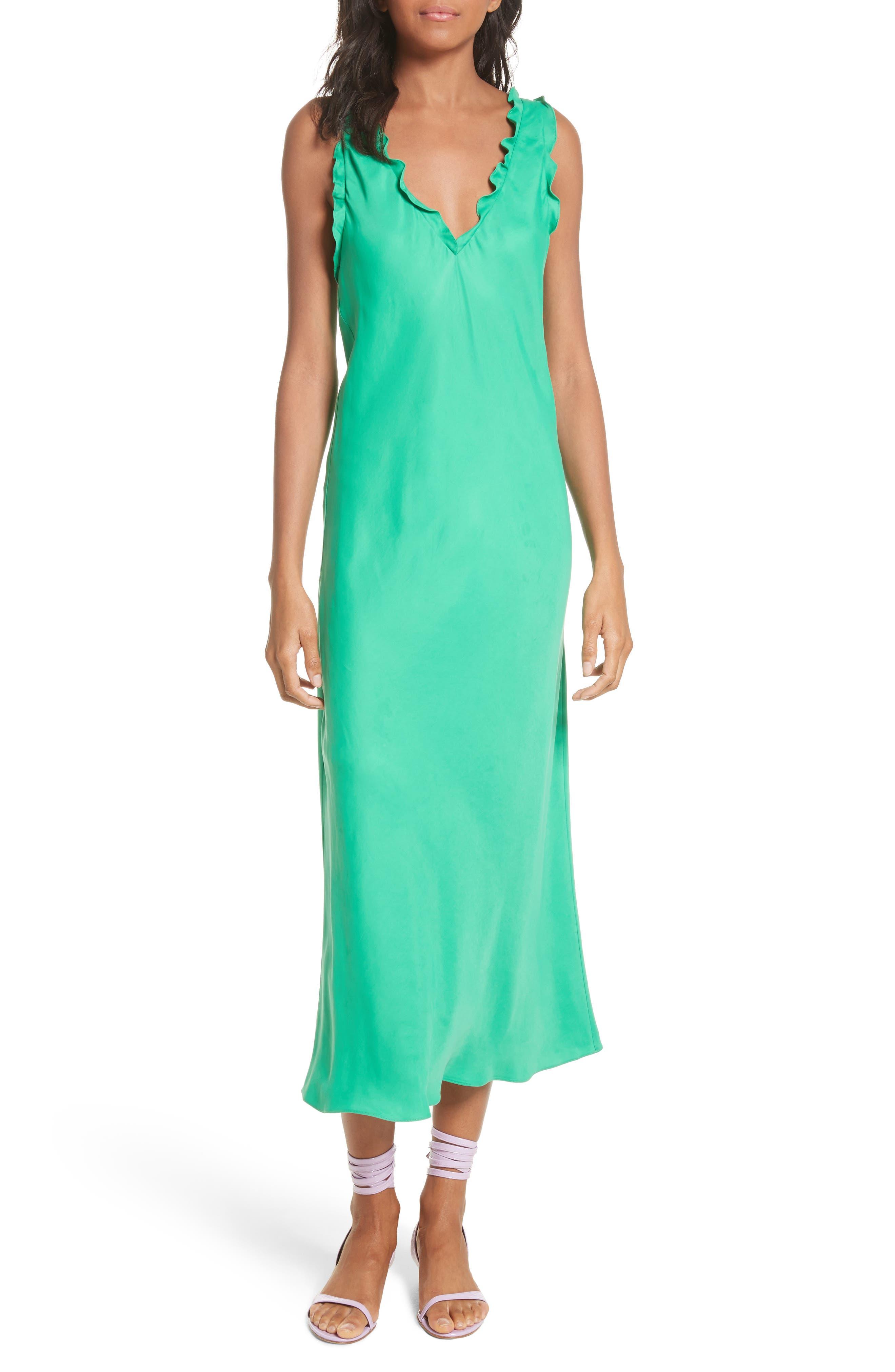 Ruffle Bias Midi Dress,                             Main thumbnail 1, color,                             Green