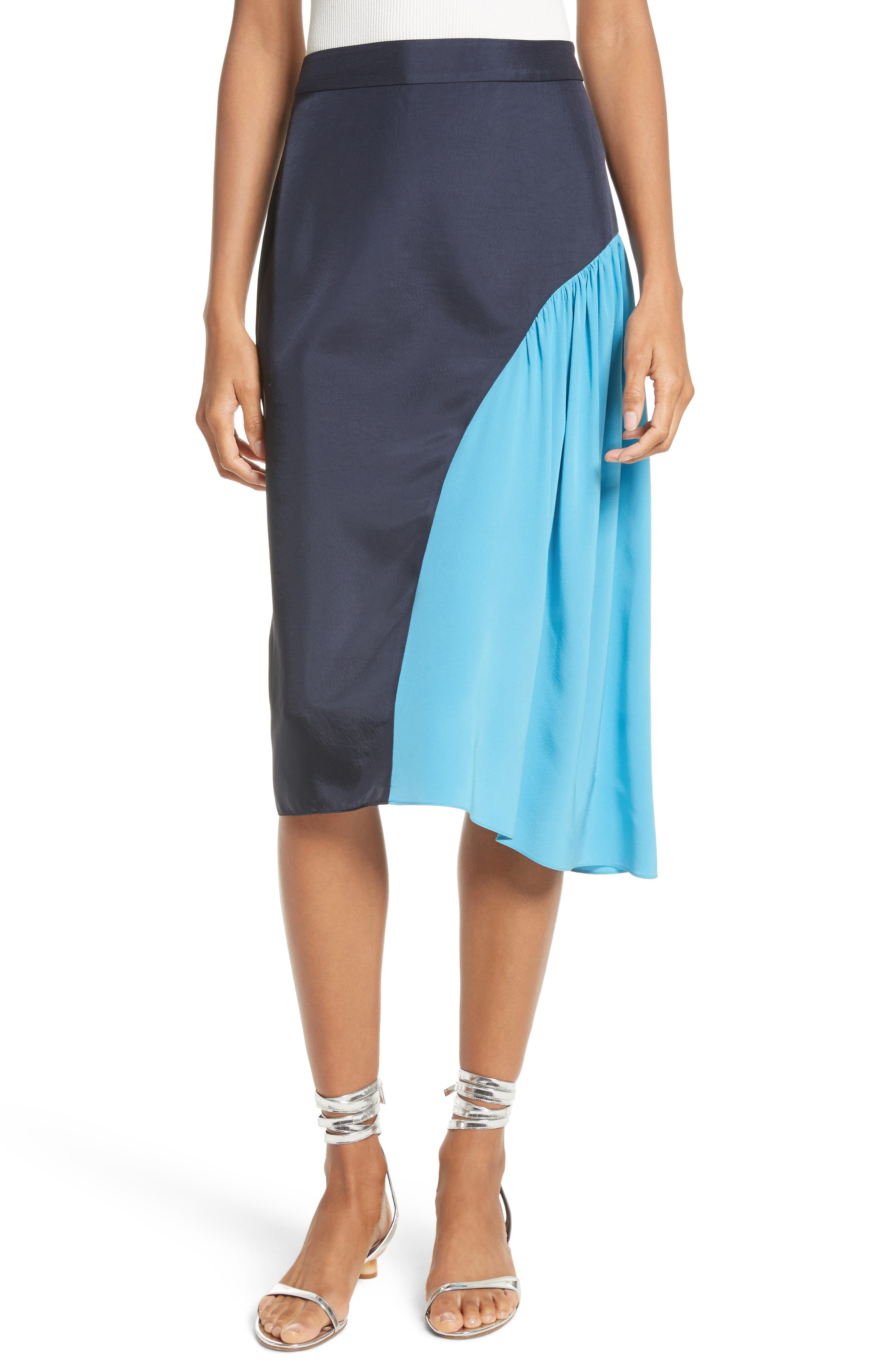 Colorblock Skirt,                             Main thumbnail 1, color,                             Navy/ Blue Multi