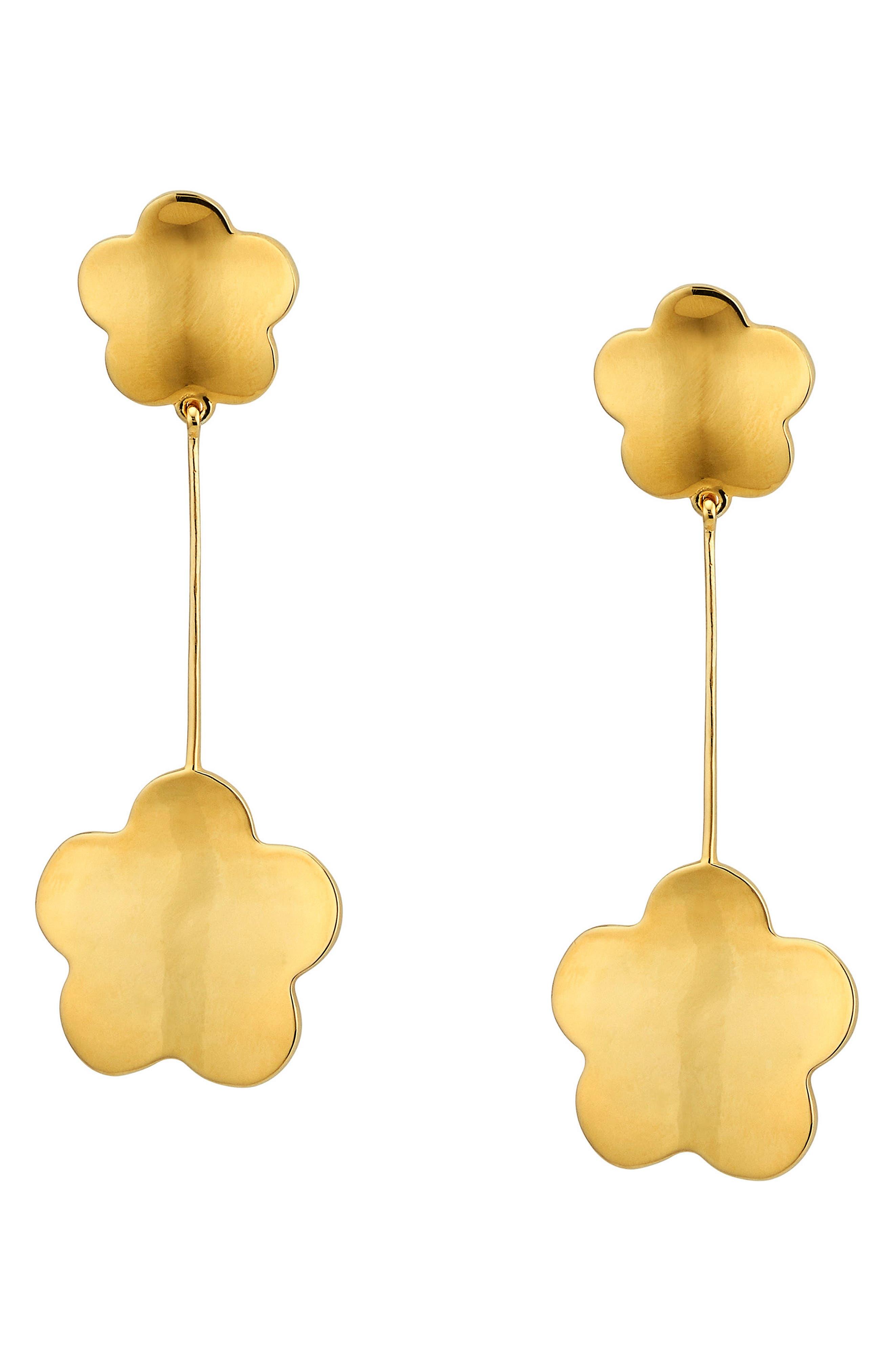 Delphine Floral Drop Earrings,                         Main,                         color, Gold