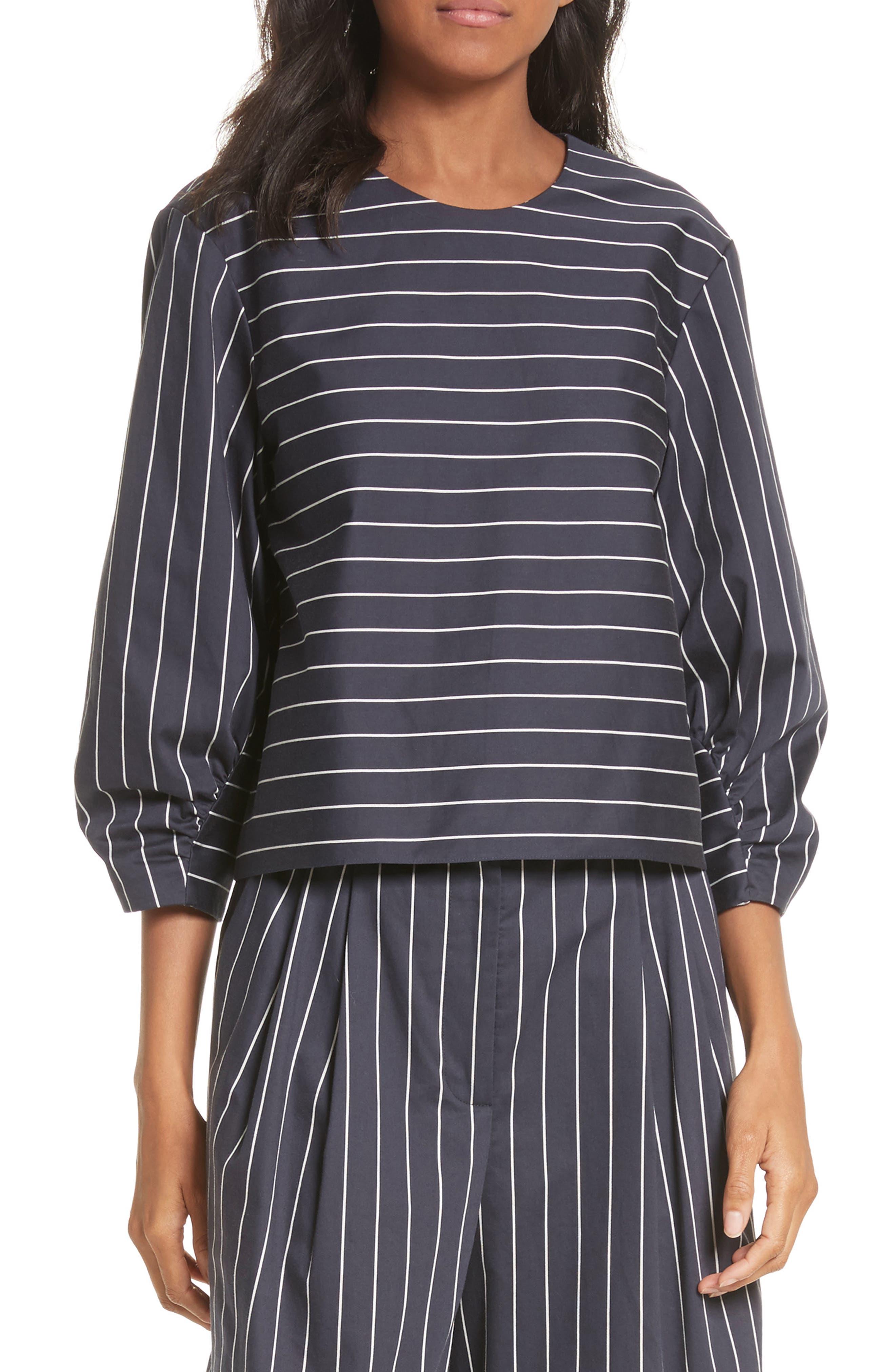 Shirred Sleeve Crop Top,                         Main,                         color, Navy