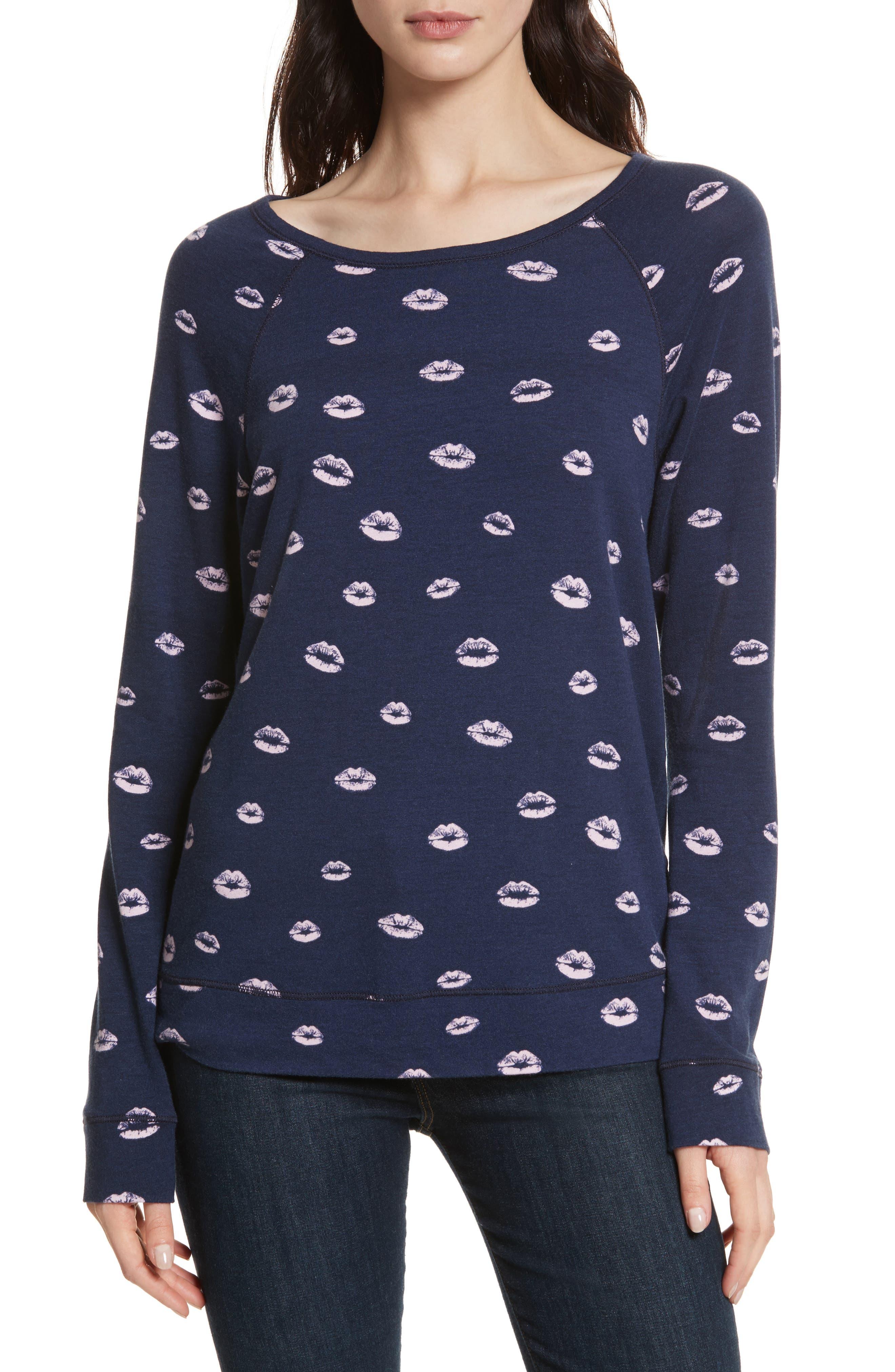 Annora B Kiss Print Sweatshirt,                         Main,                         color, Dark Navy / Arabesque