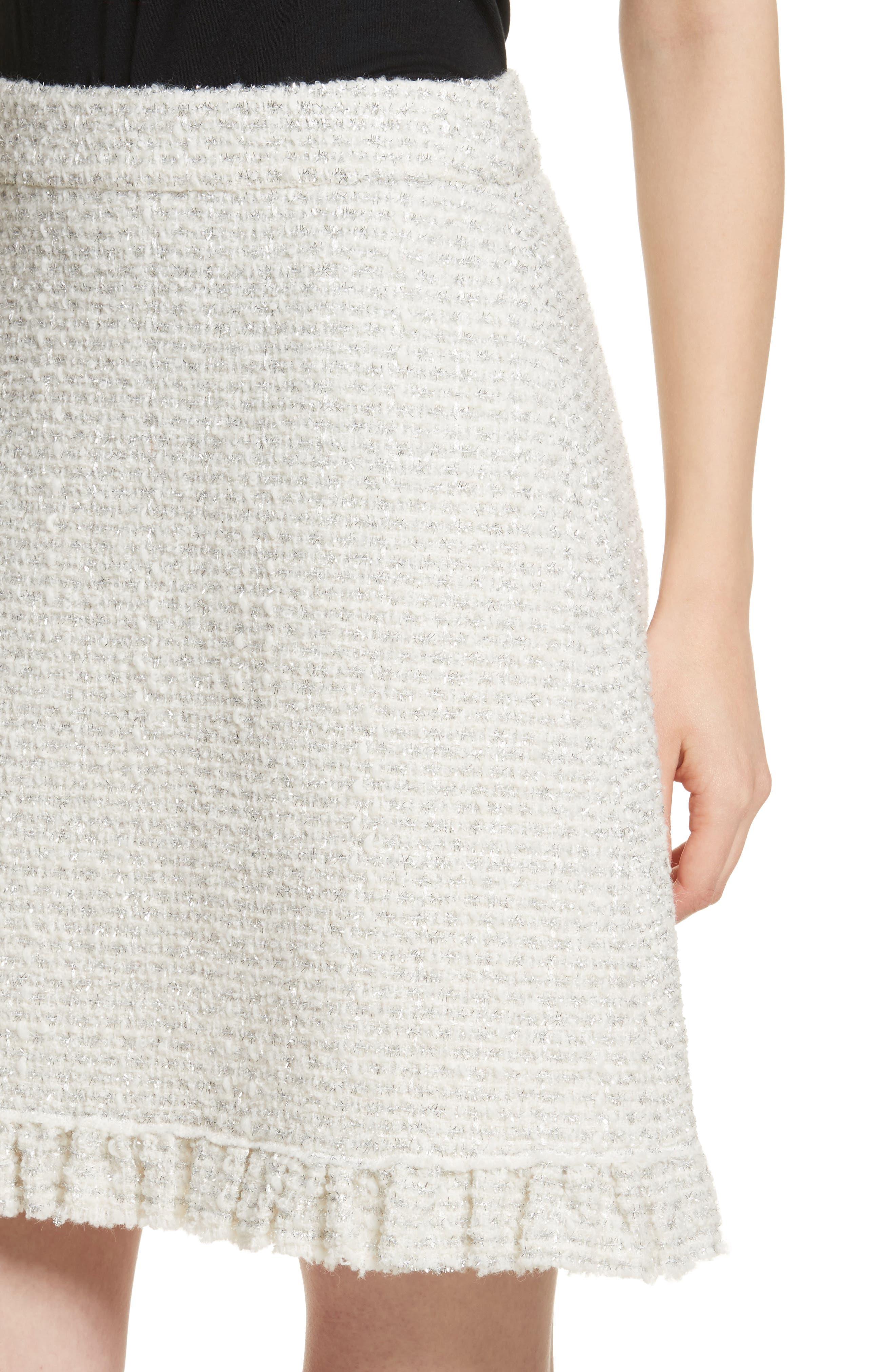 sparkle tweed skirt,                             Alternate thumbnail 4, color,                             Cream