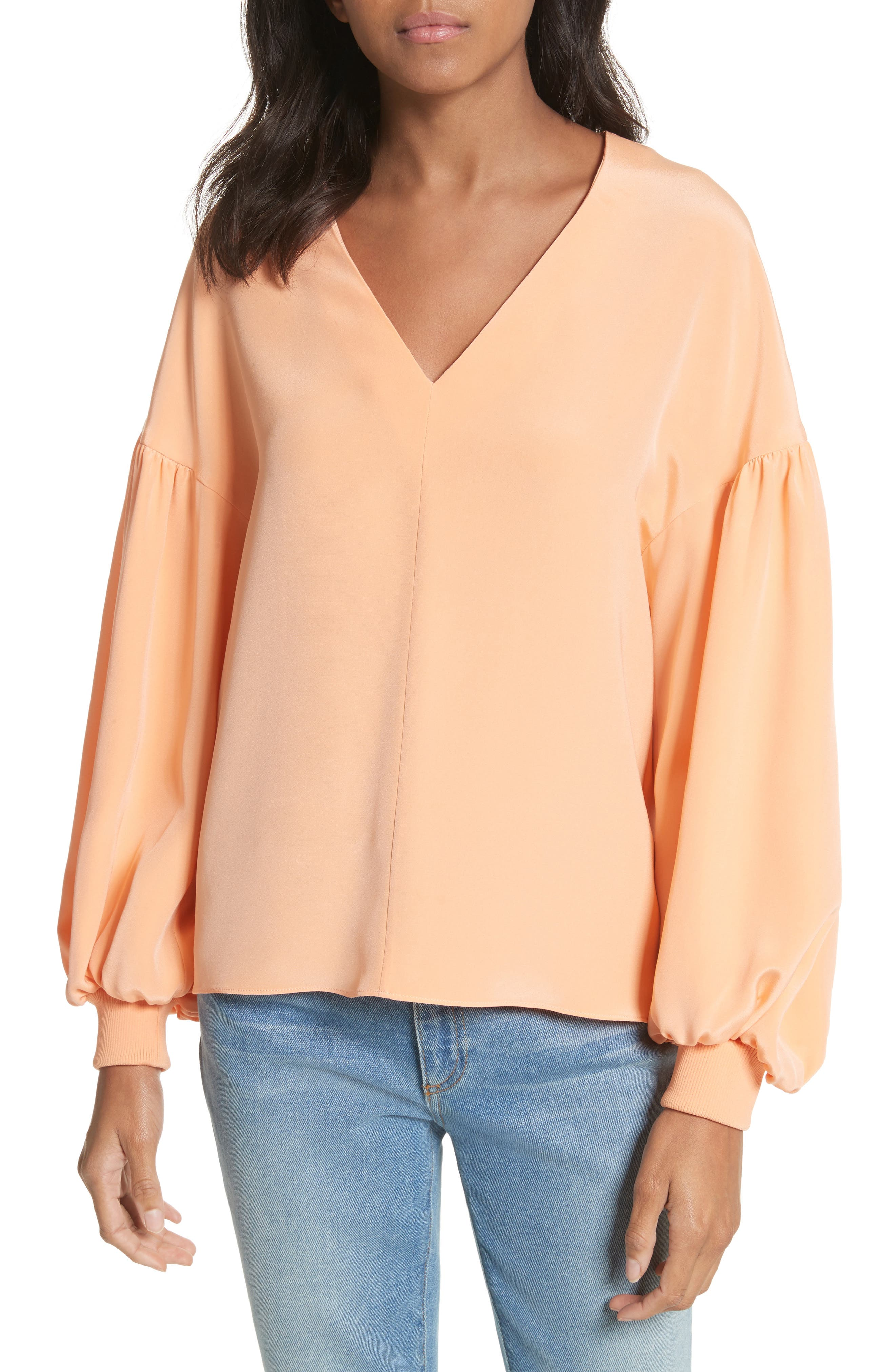 Blouson Sleeve Four-Ply Silk Top,                         Main,                         color, Apricot