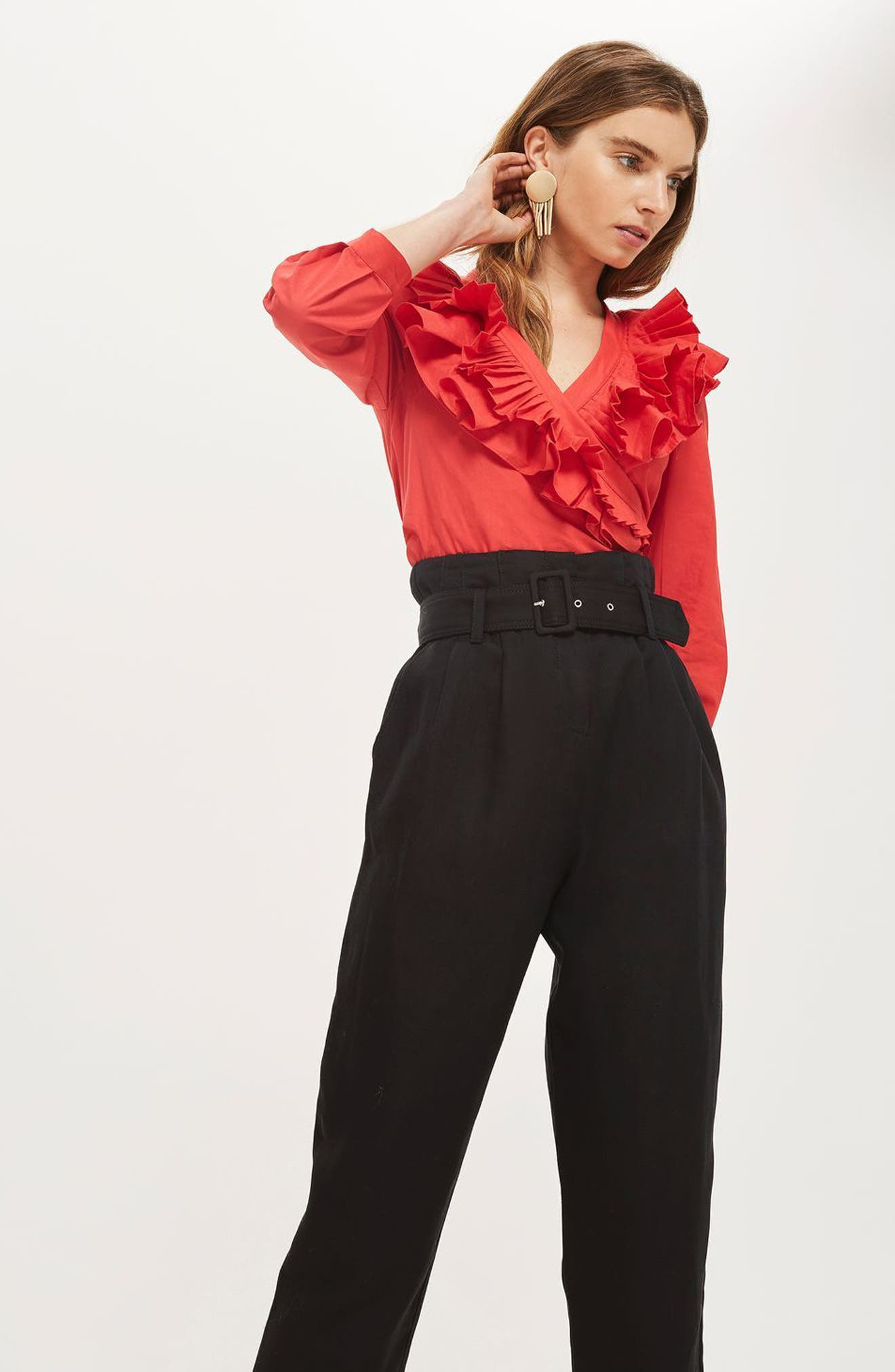 Alternate Image 5  - Topshop Mensy Belted Trousers