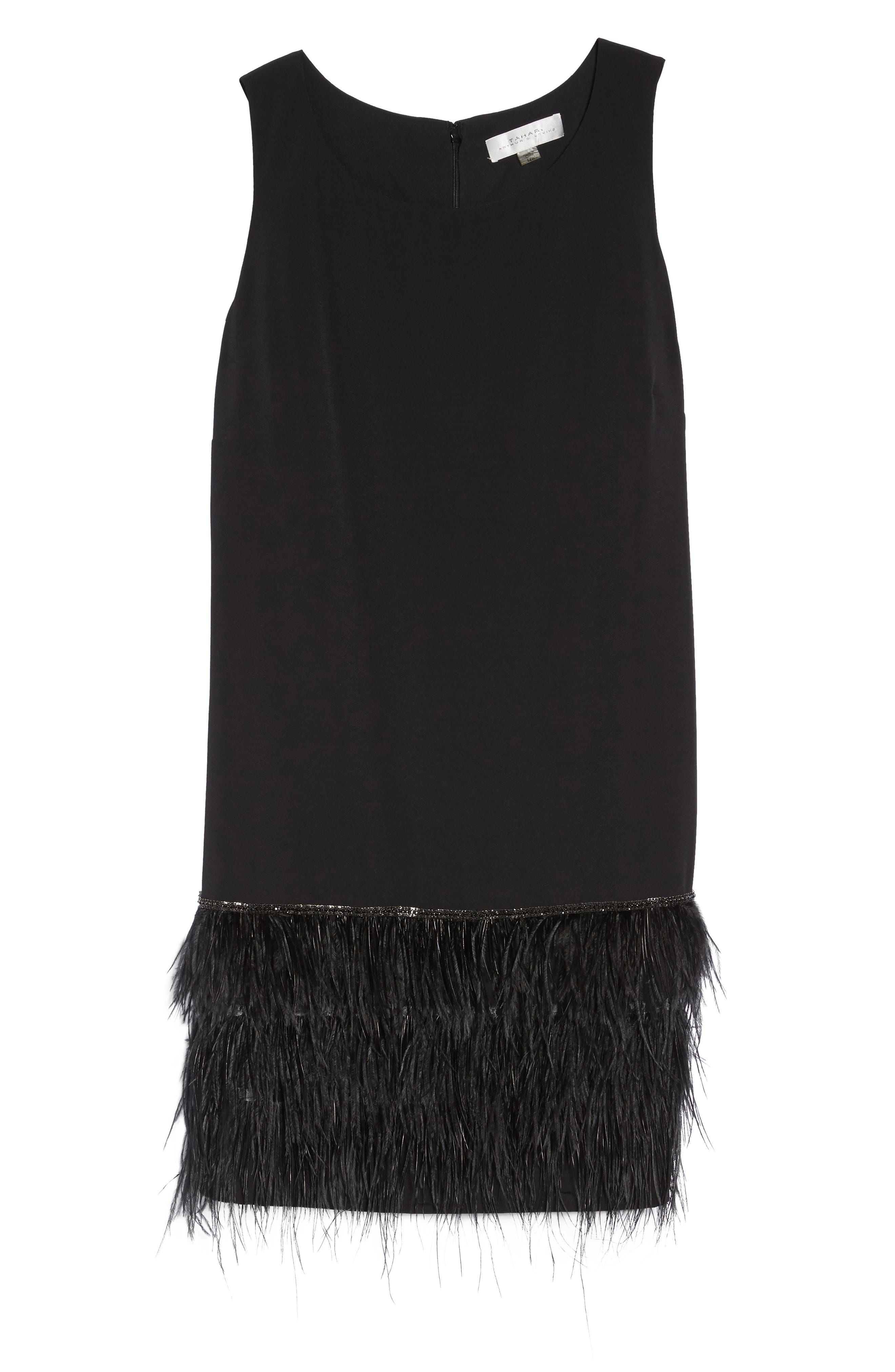 Feather Hem Shift Dress,                             Alternate thumbnail 6, color,                             Black