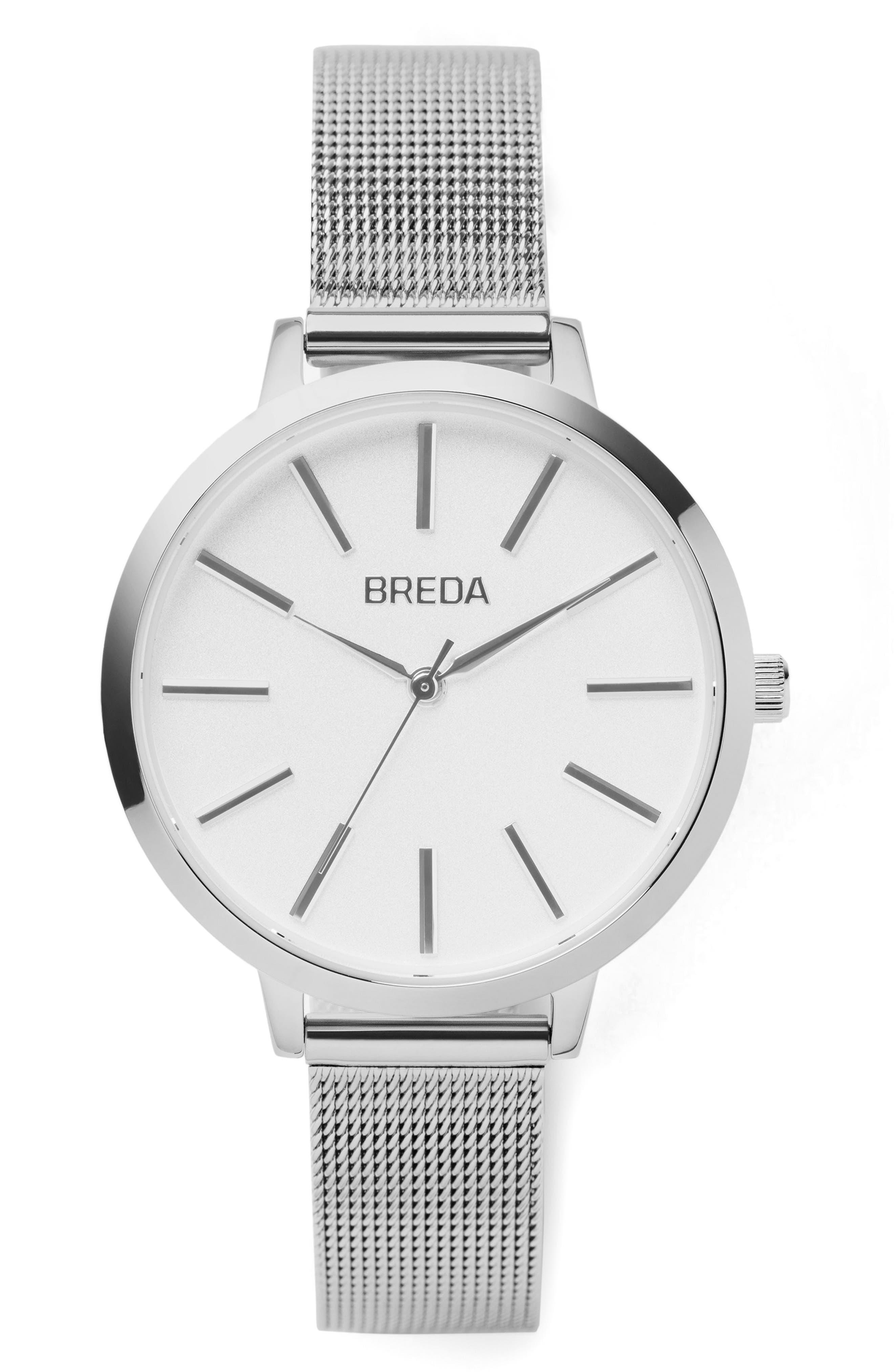 Main Image - BREDA Joule Mesh Strap Watch, 37mm