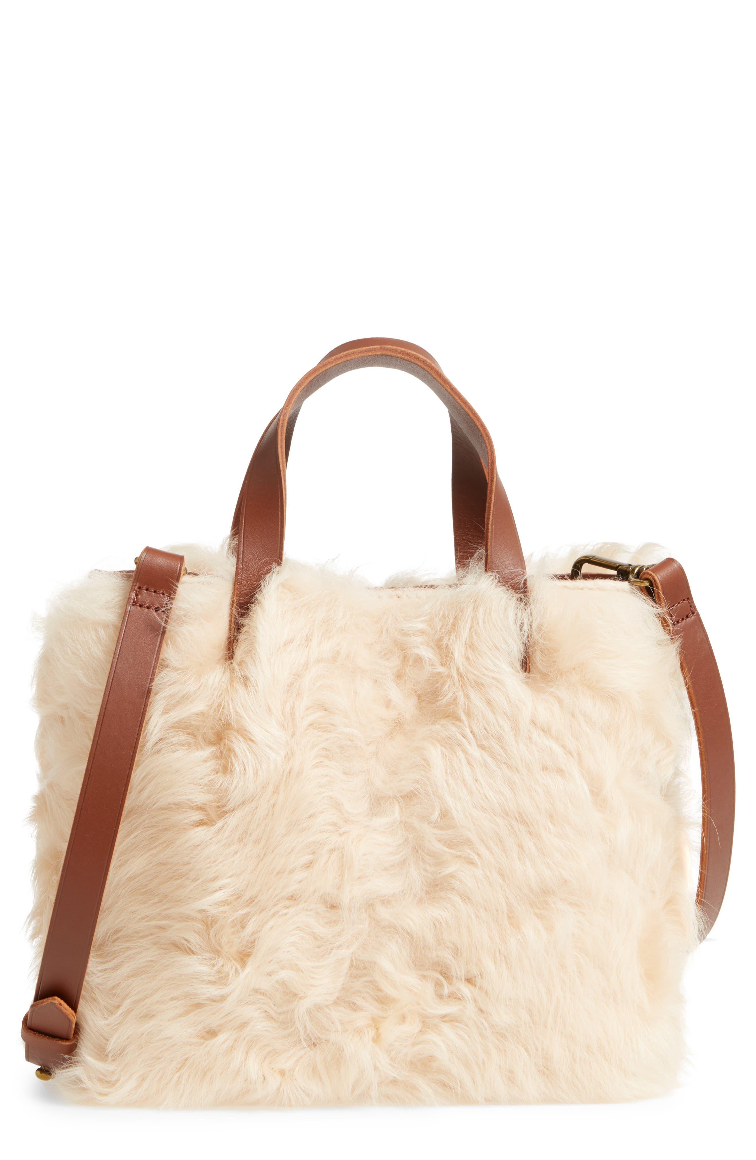 Madewell Mini Transport Genuine Shearling & Leather Crossbody Bag