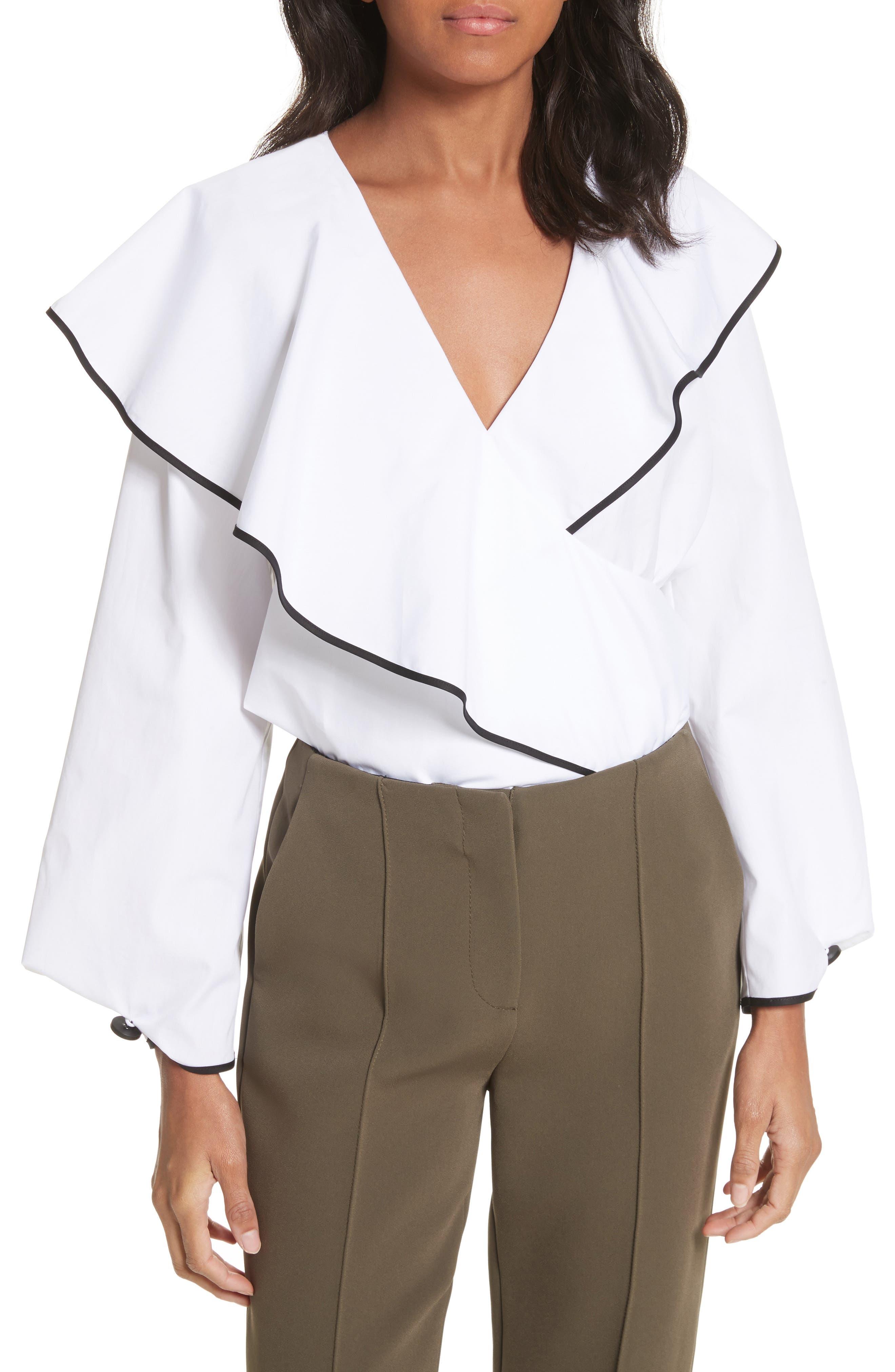 Diane von Furstenberg Piped Ruffled Poplin Blouse,                         Main,                         color, White