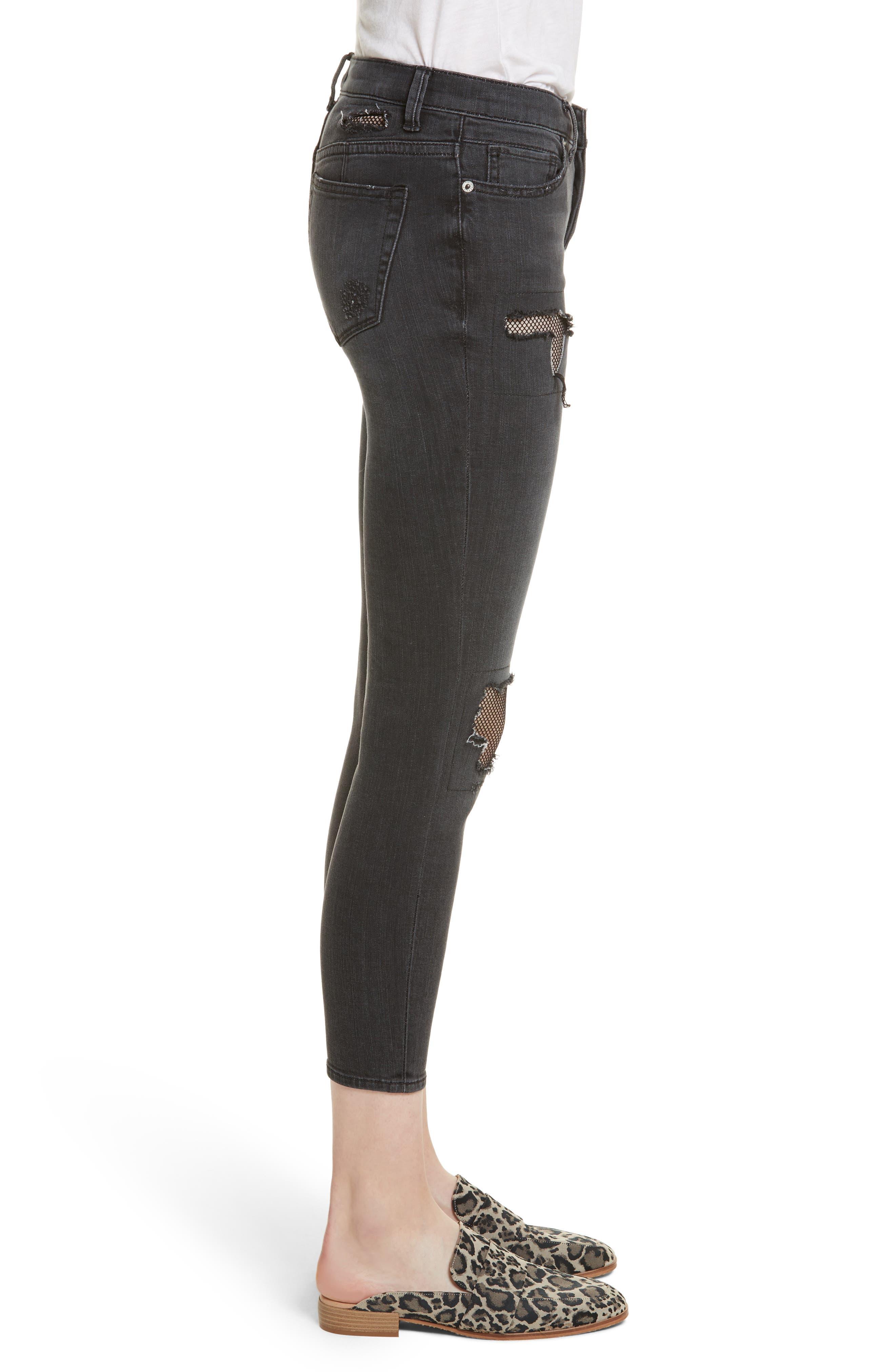 Fishnet Crop Skinny Jeans,                             Alternate thumbnail 3, color,                             Black