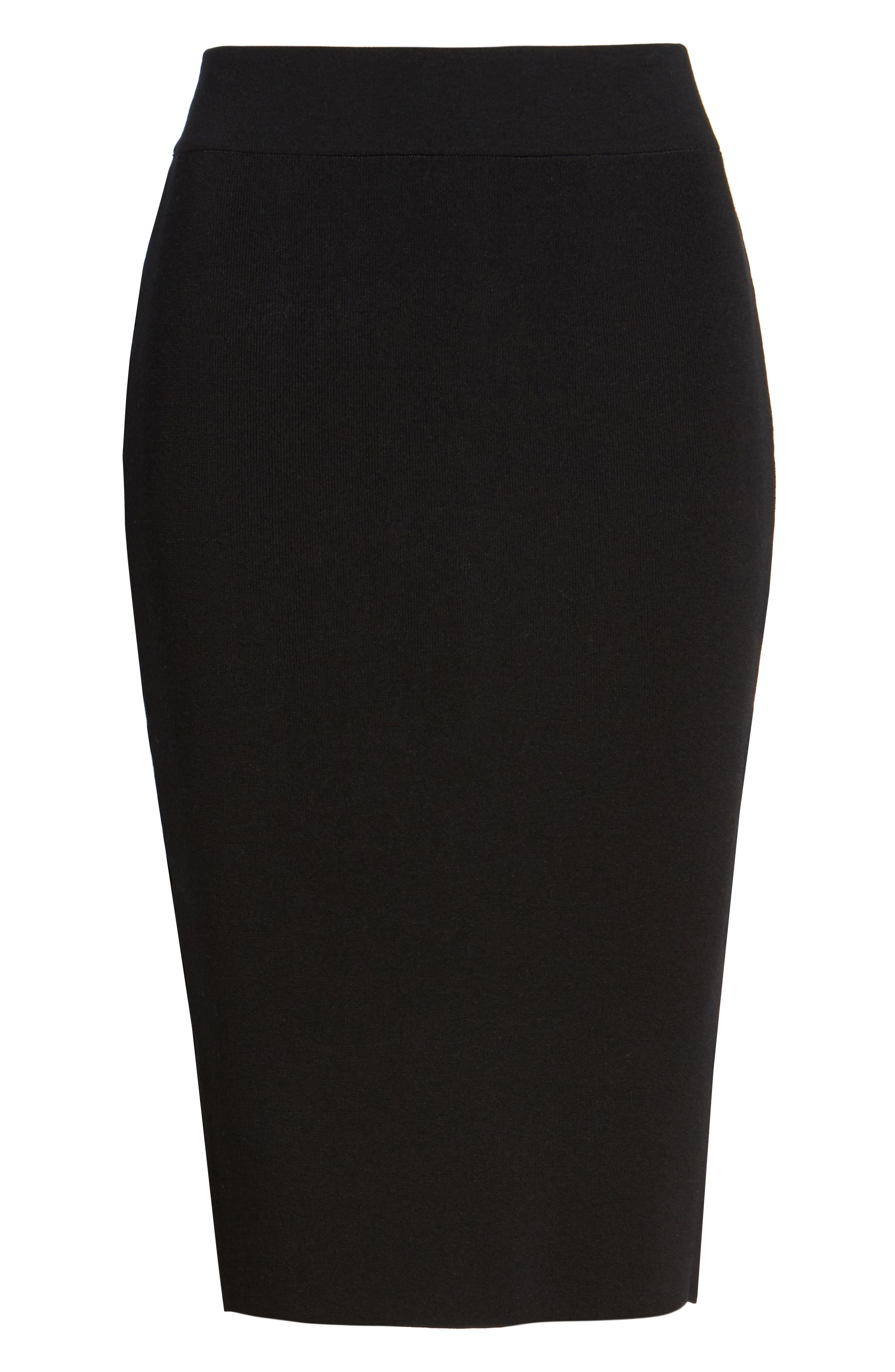 High Waist Body-Con Skirt,                             Alternate thumbnail 6, color,                             Black