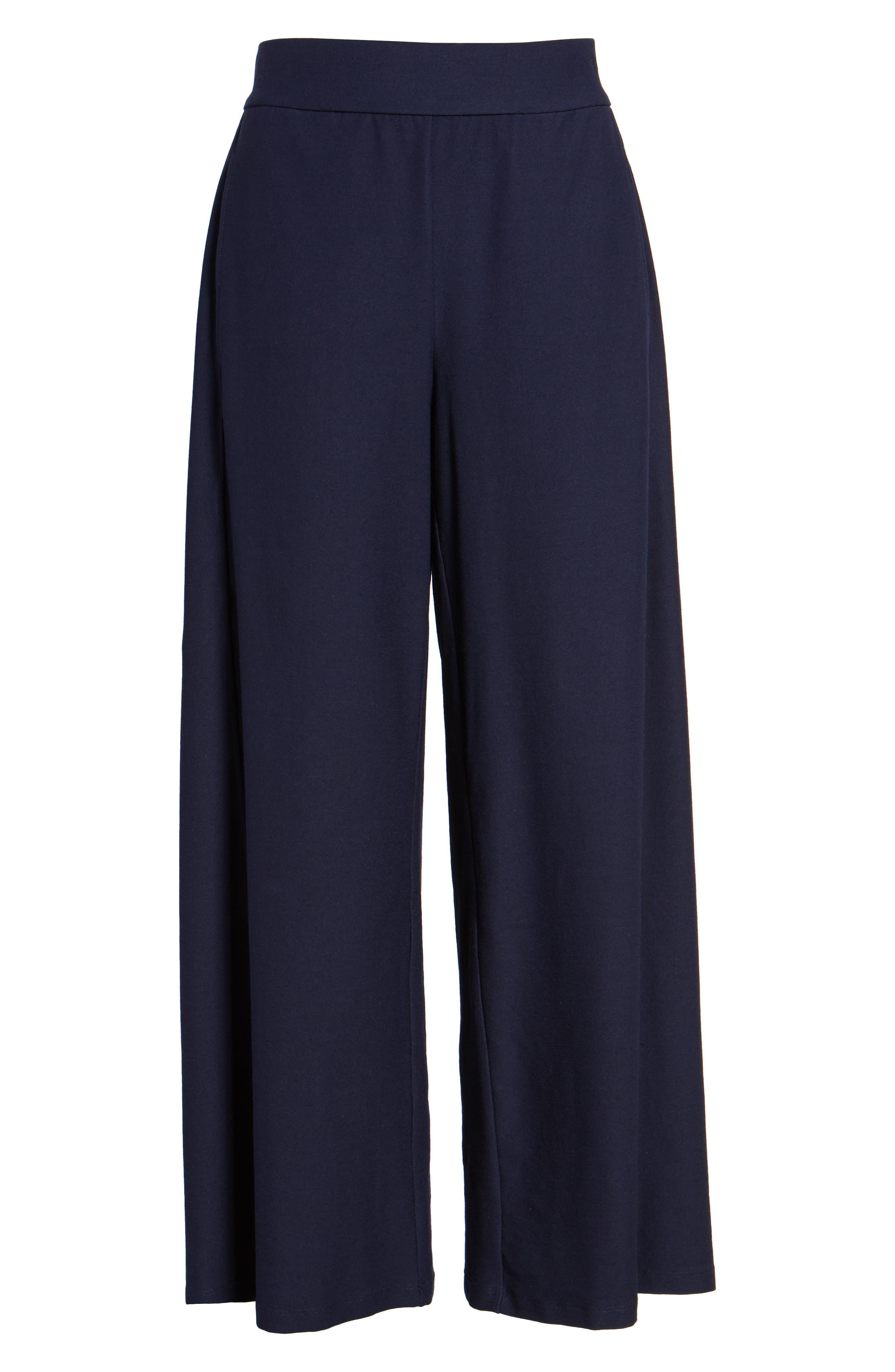 Wide Leg Crop Pants,                             Alternate thumbnail 7, color,                             Midnight