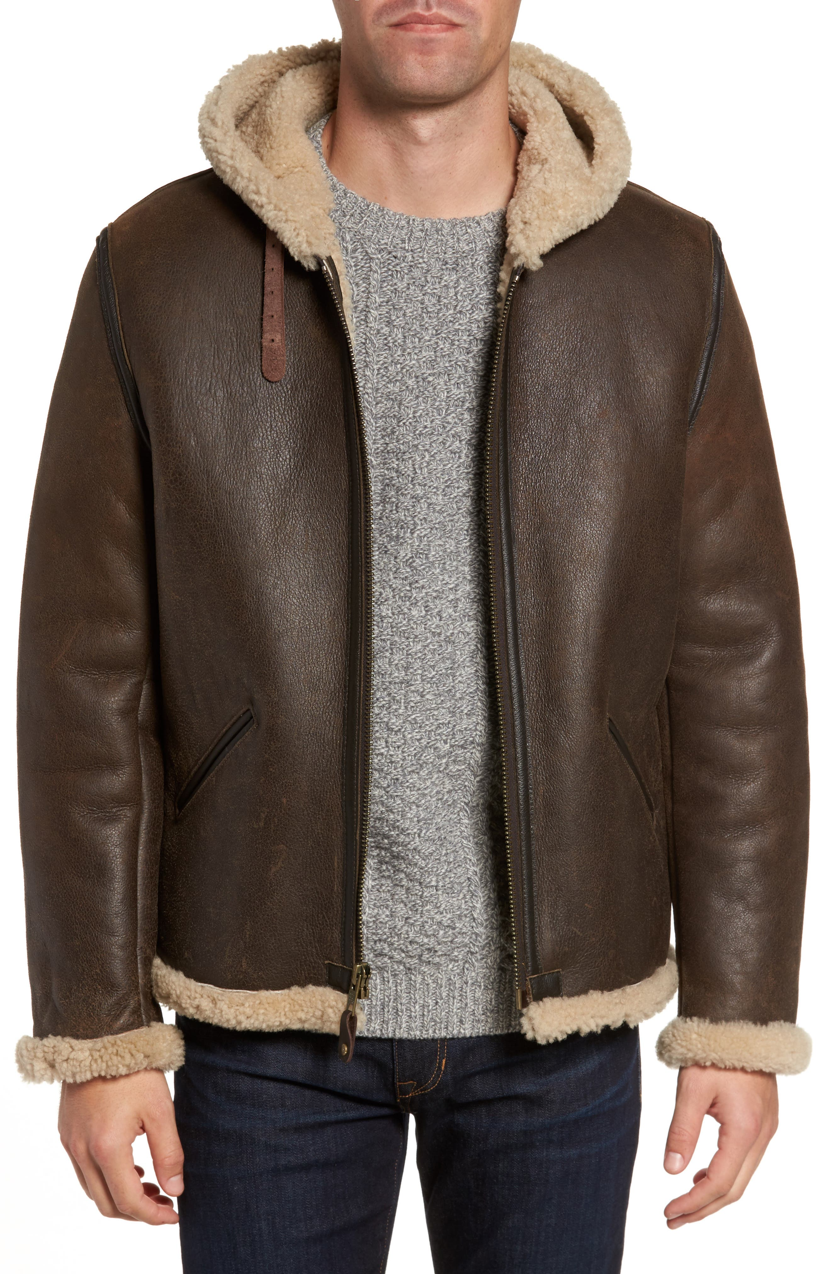 Genuine Shearling Vintage B-6 Hooded Bomber Jacket,                             Main thumbnail 1, color,                             Brown