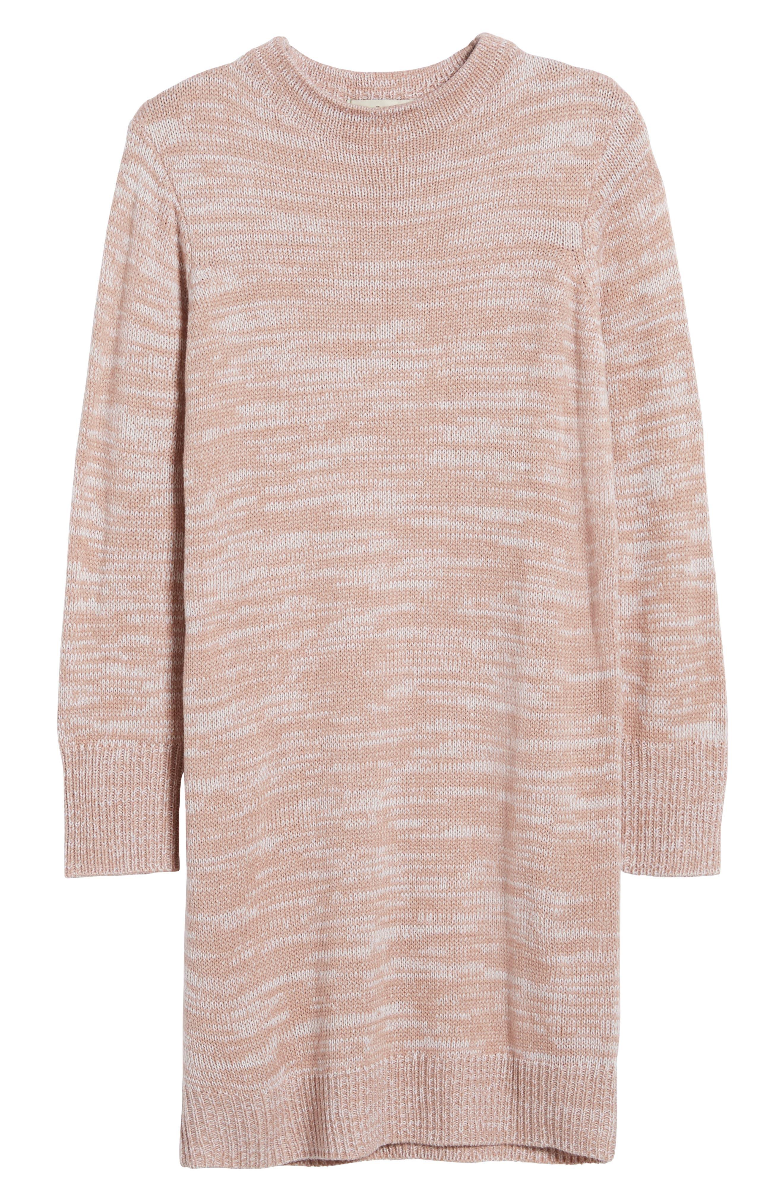 Mock Neck Sweater,                             Alternate thumbnail 6, color,                             Pink Adobe/ Ivory
