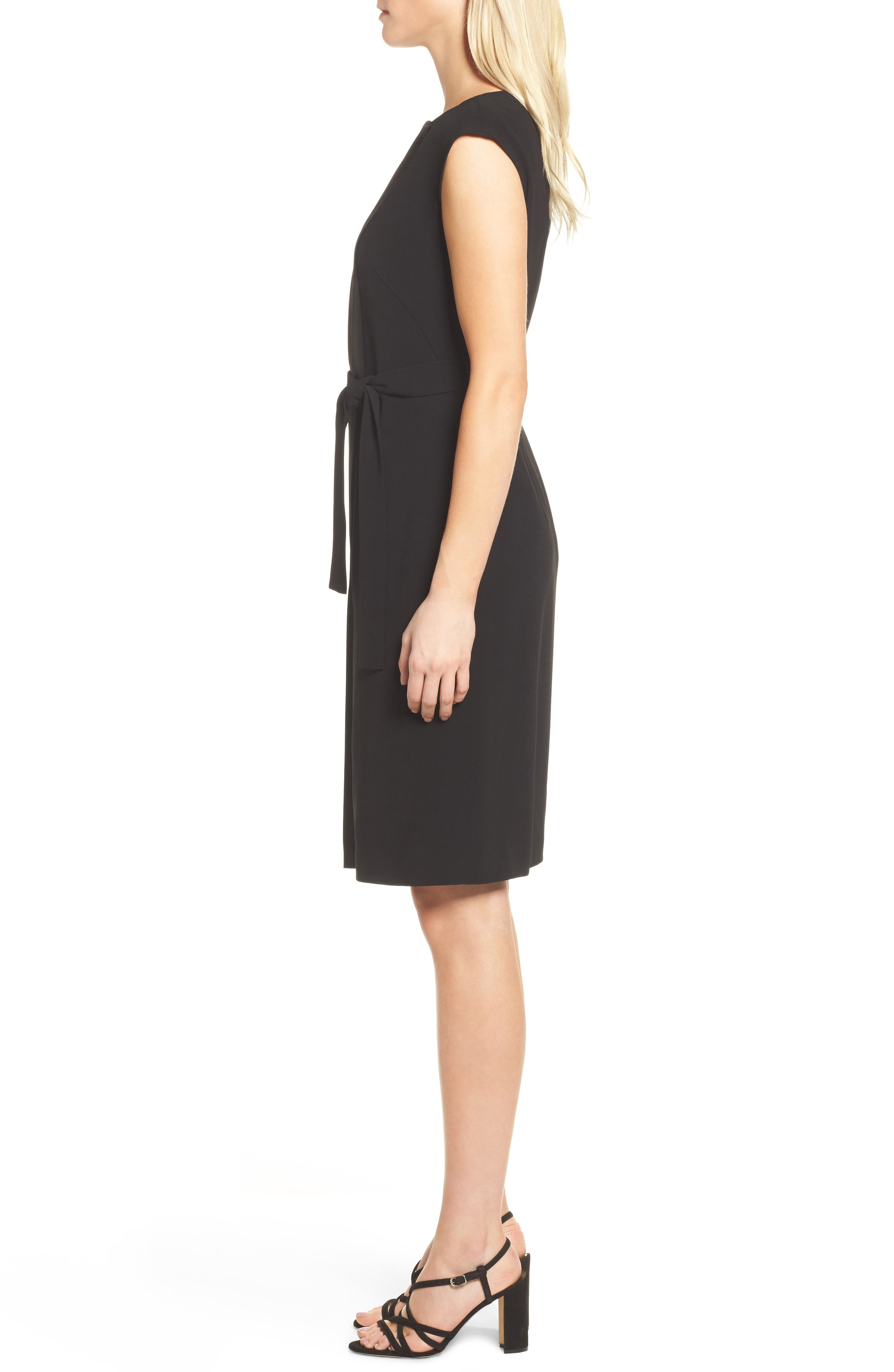 Drapena Faux Wrap Sheath Dress,                             Alternate thumbnail 3, color,                             Black