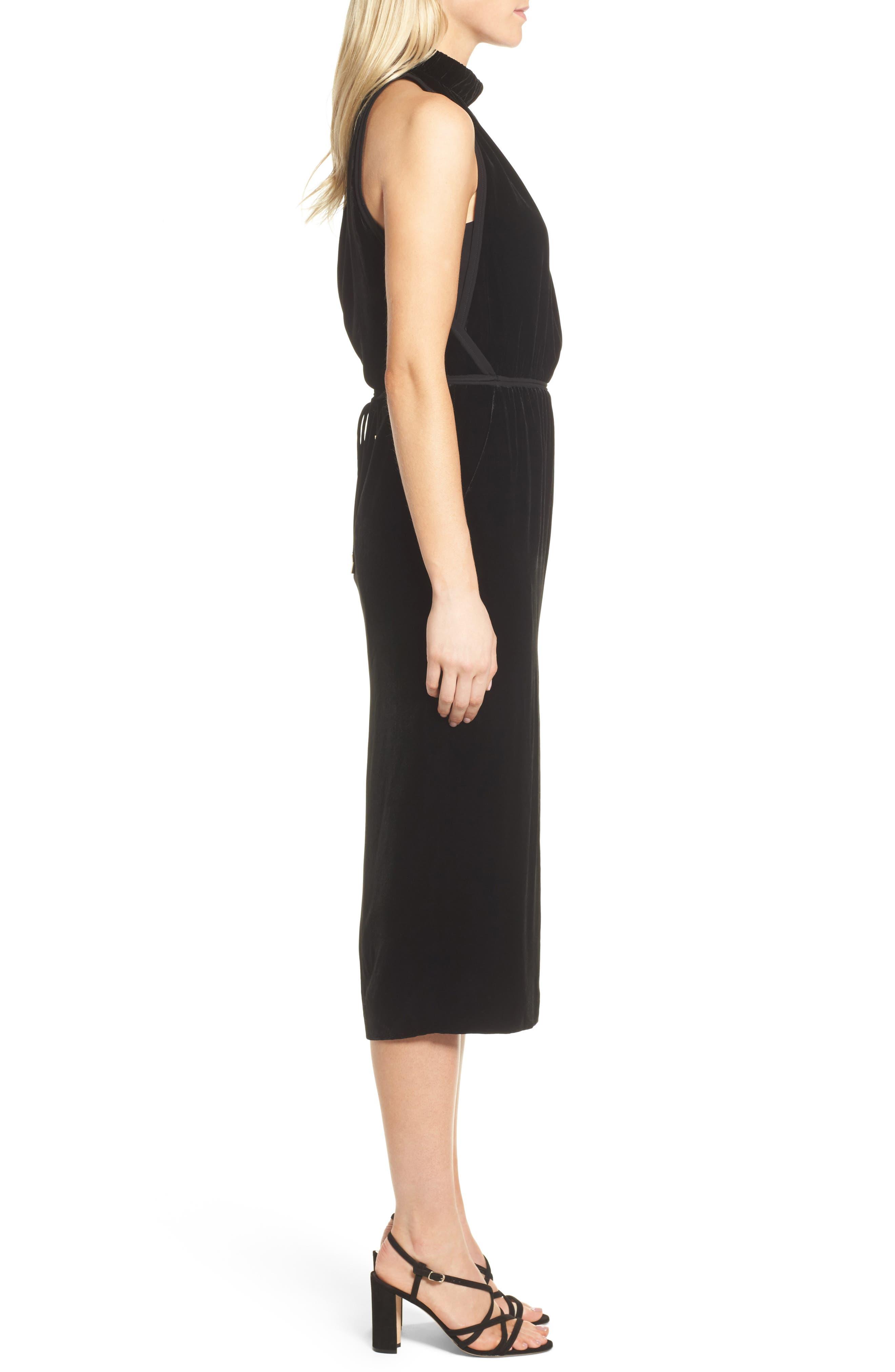 Difosia Velvet Midi Dress,                             Alternate thumbnail 3, color,                             Black