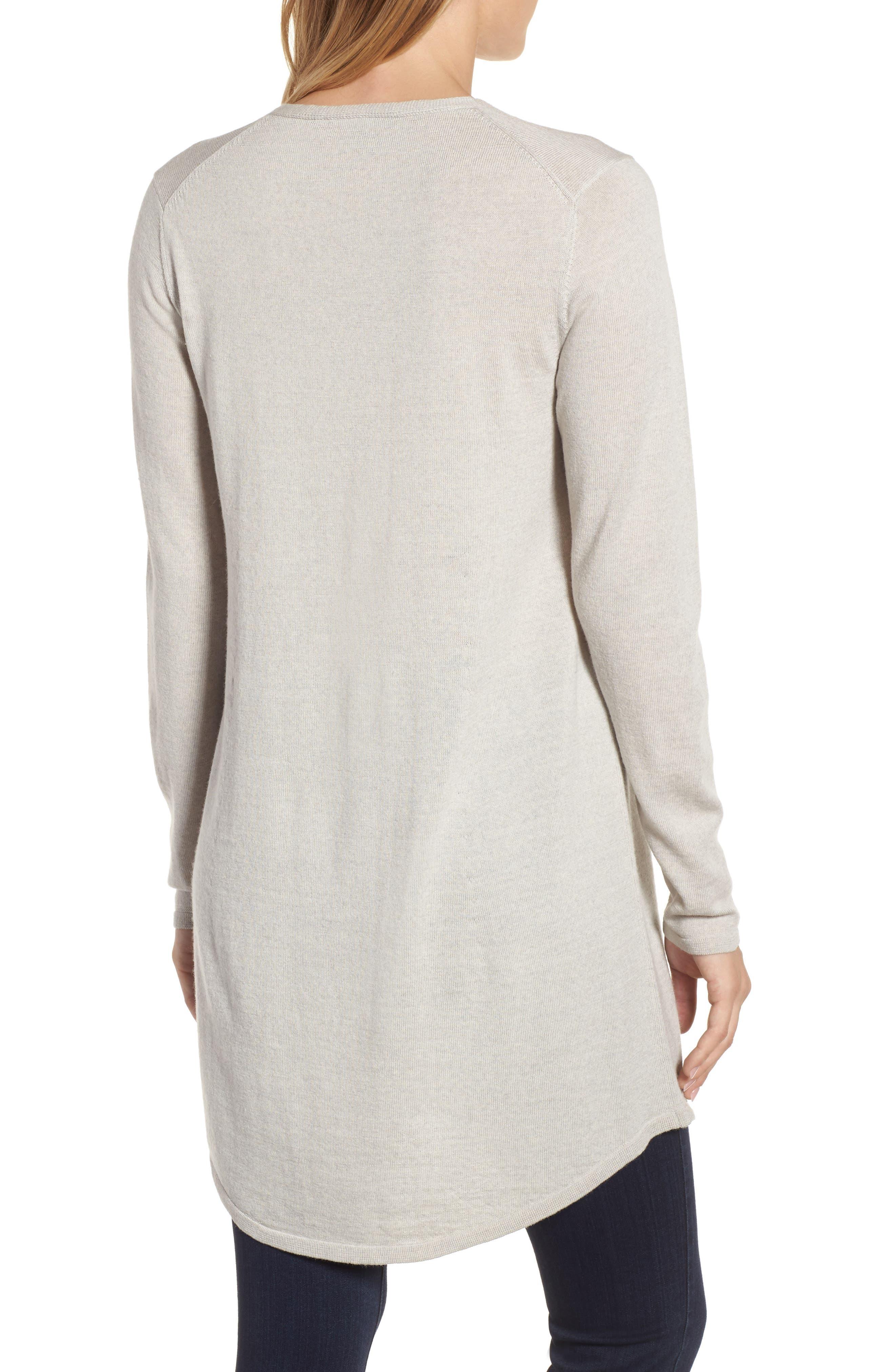 Lightweight Merino Jersey V-Neck Tunic,                             Alternate thumbnail 2, color,                             Maple Oat