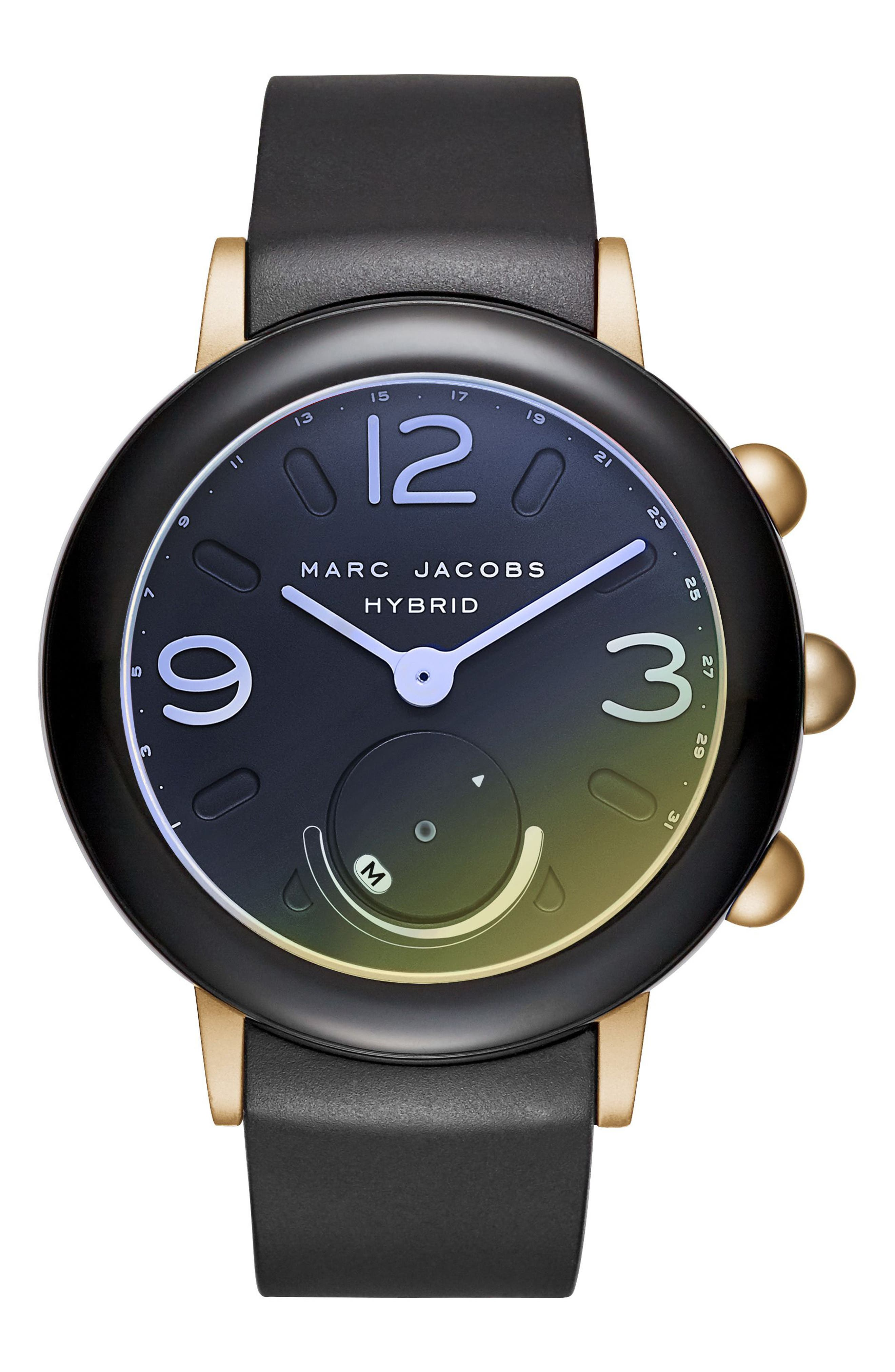 Main Image - Marc Jacobs Riley Hybrid Rubber Strap Watch, 42mm