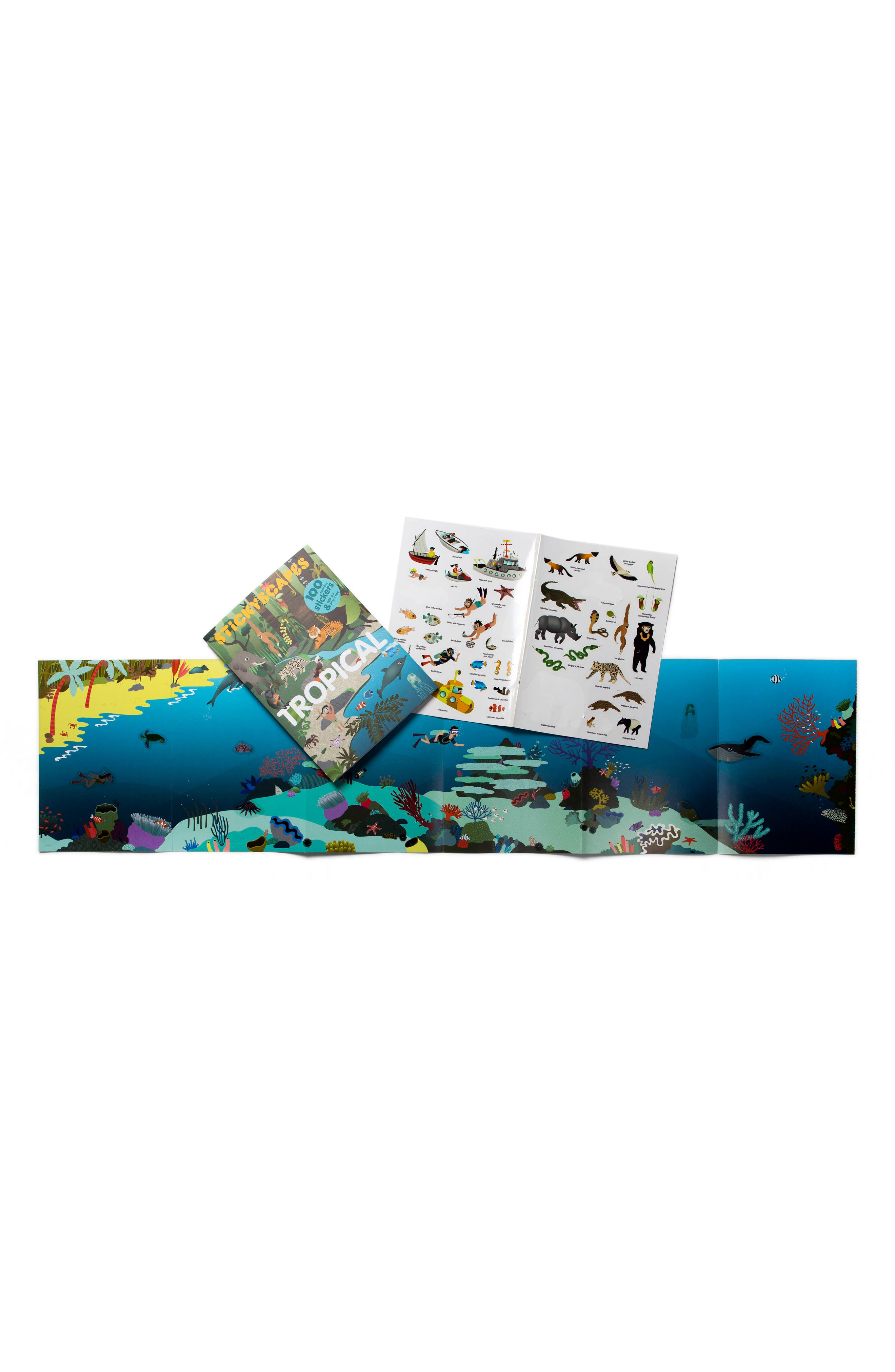 'Stickyscapes: Tropical' Adventure Activity Sticker Book,                             Alternate thumbnail 5, color,                             Green